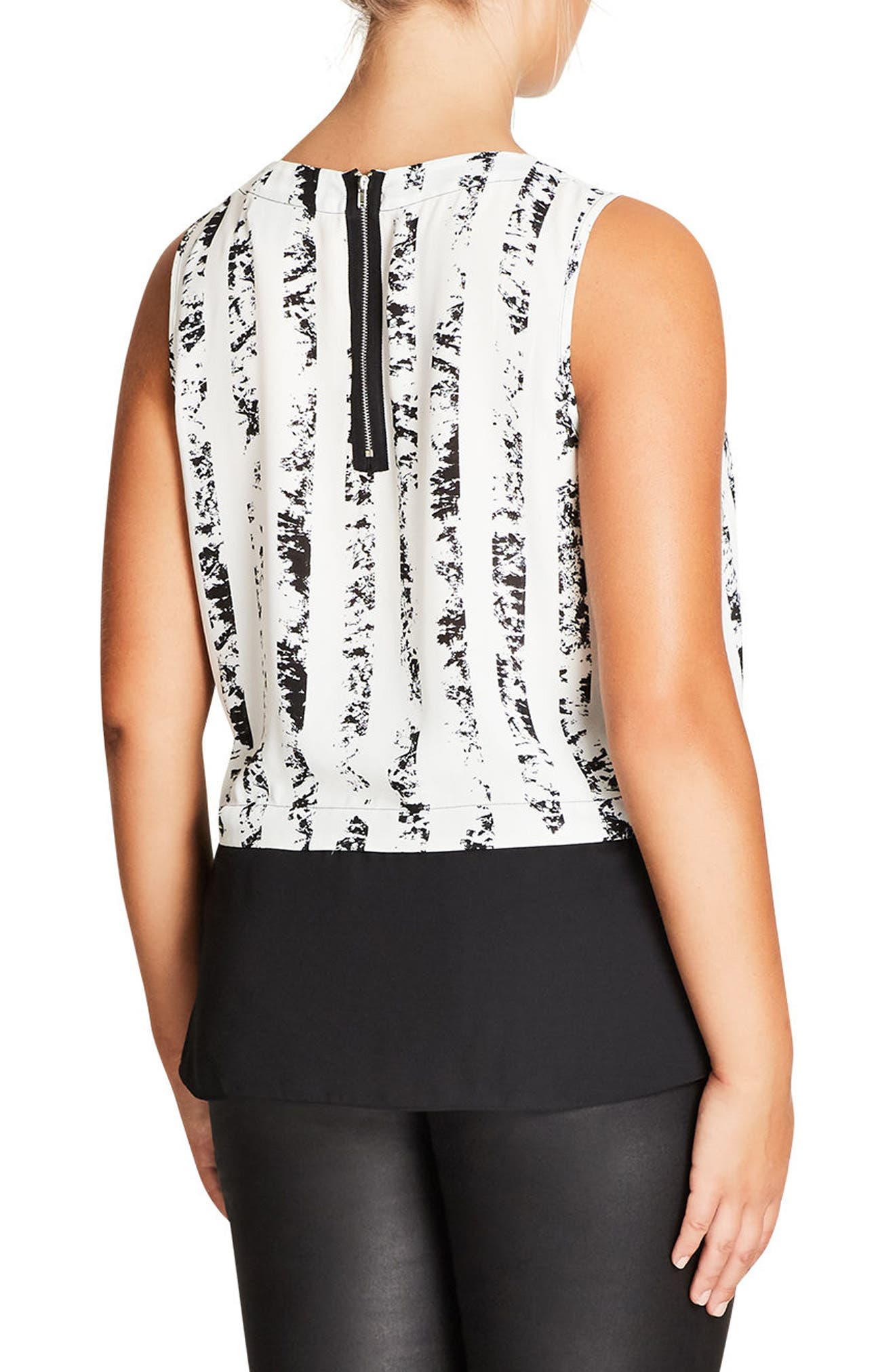 Alternate Image 2  - City Chic Print Overlay Top (Plus Size)