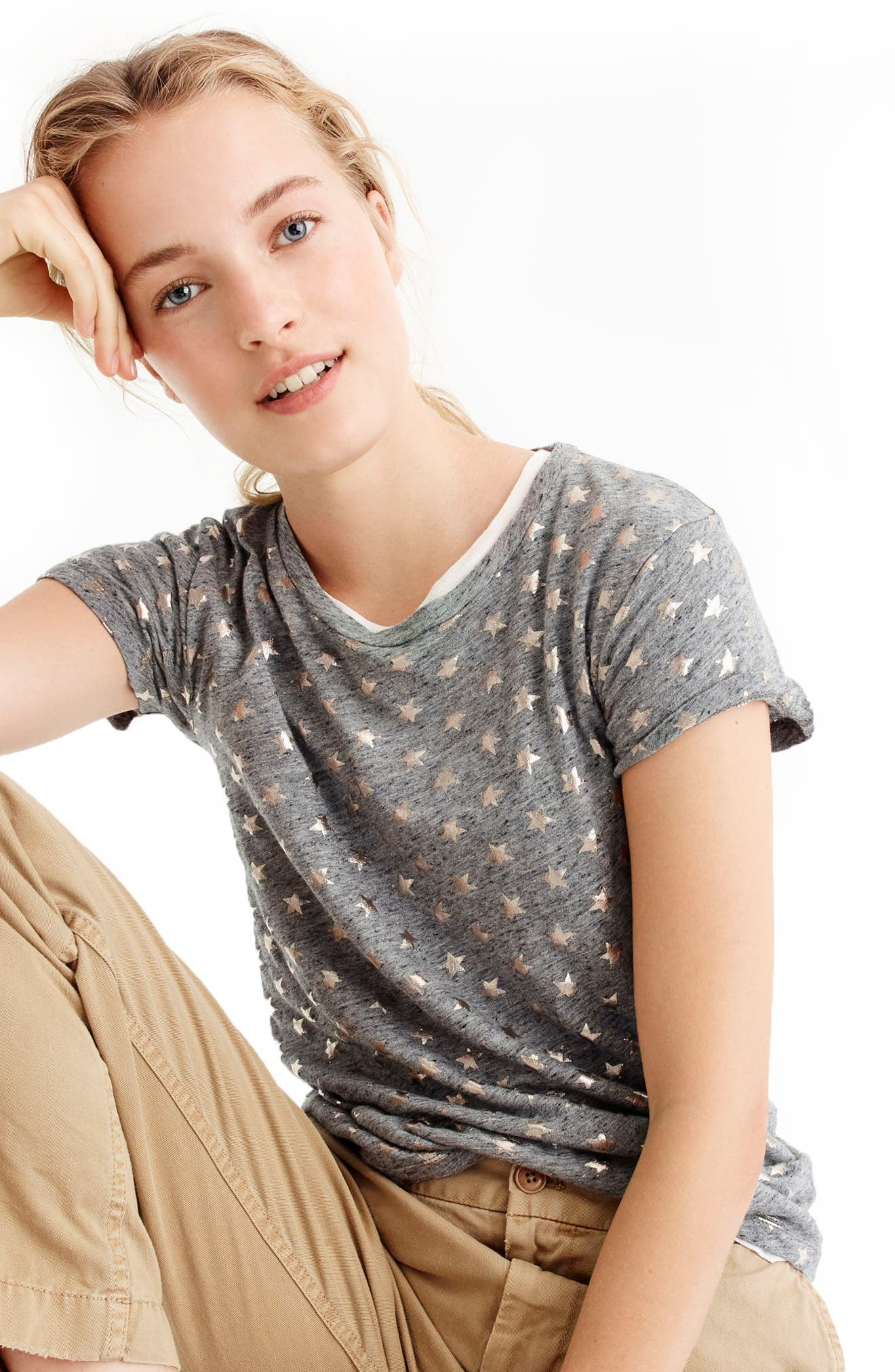 Alternate Image 1 Selected - J.Crew Metallic Stars Tee