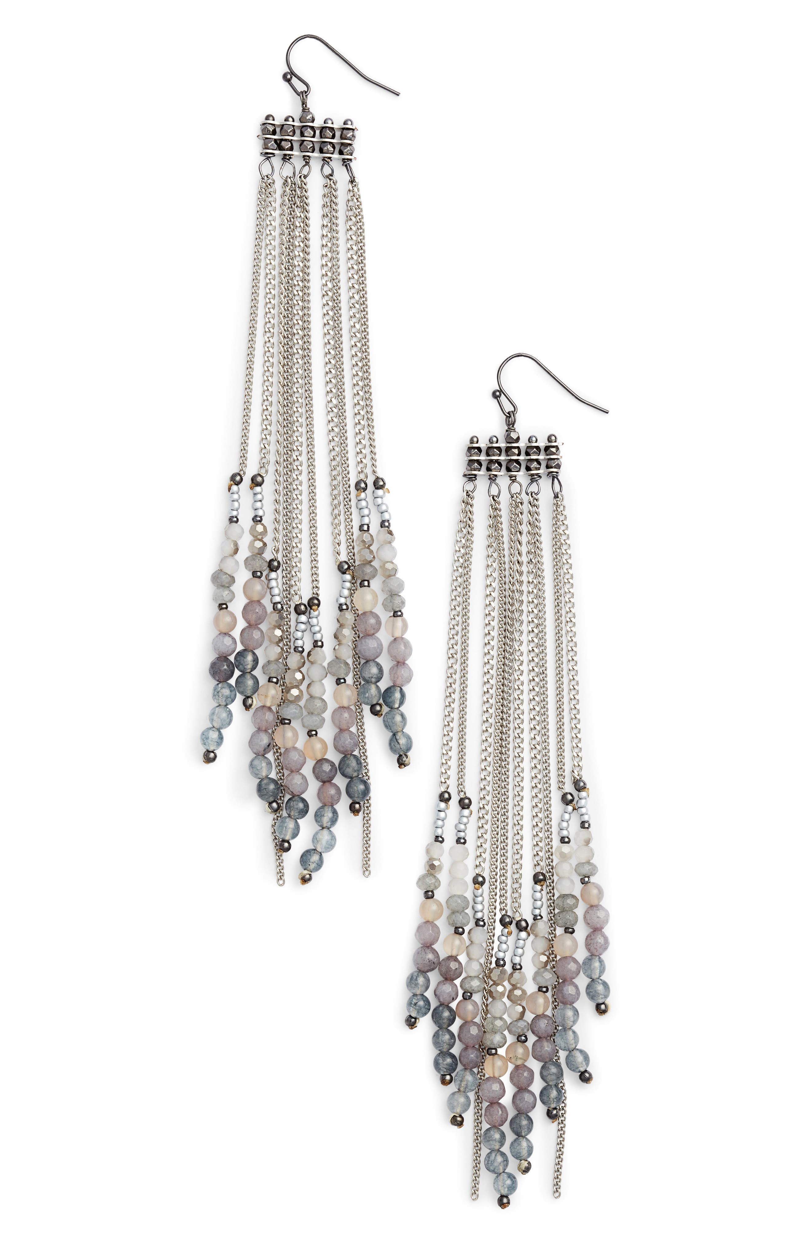 Chain Shoulder Duster Earrings,                         Main,                         color, Silver