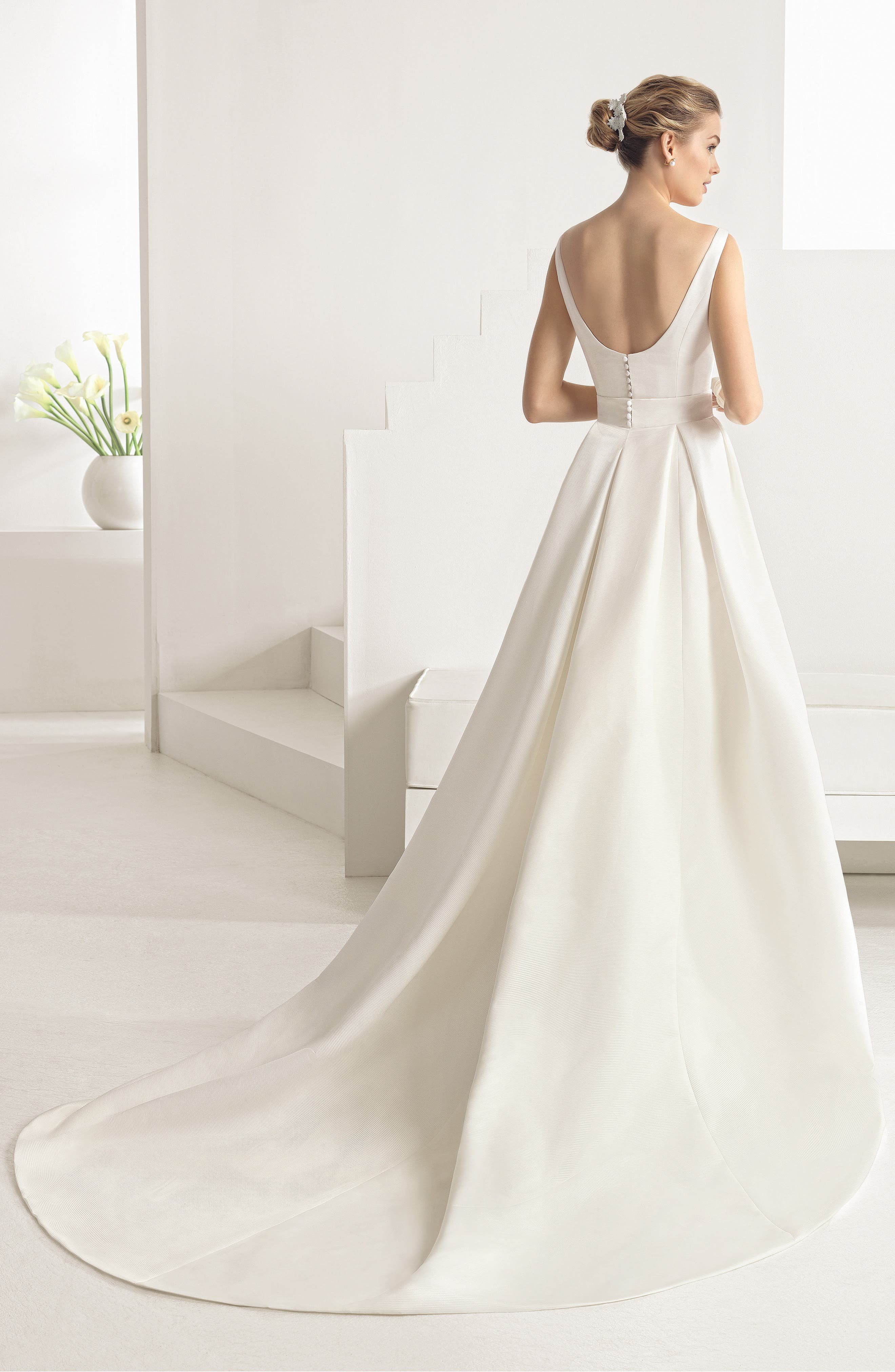 Alternate Image 2  - Rosa Clara Oria Bateau Neck Gown with Overskirt