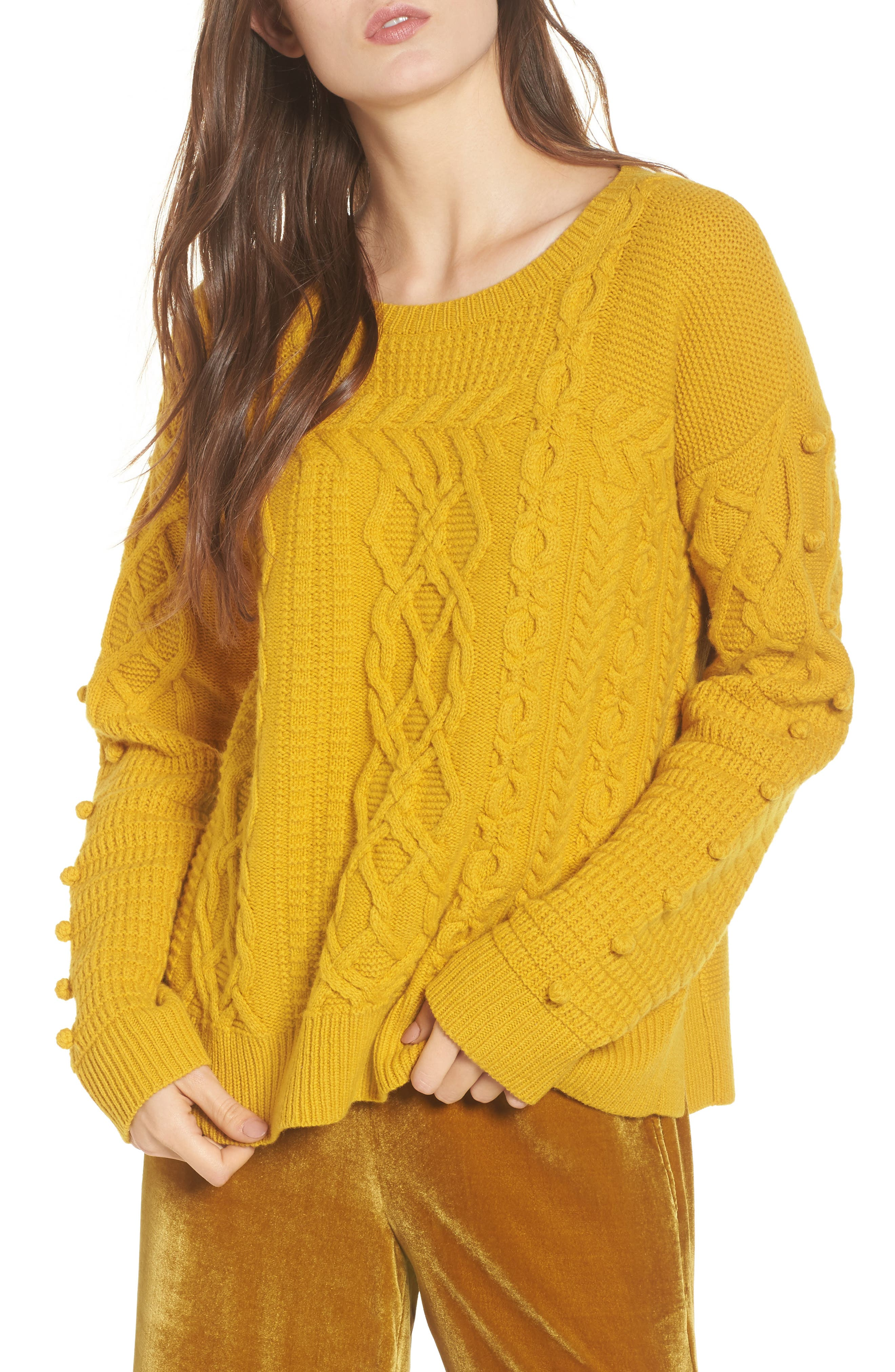 Open Side Bobble Pullover Sweater,                         Main,                         color, Mystic Yellow