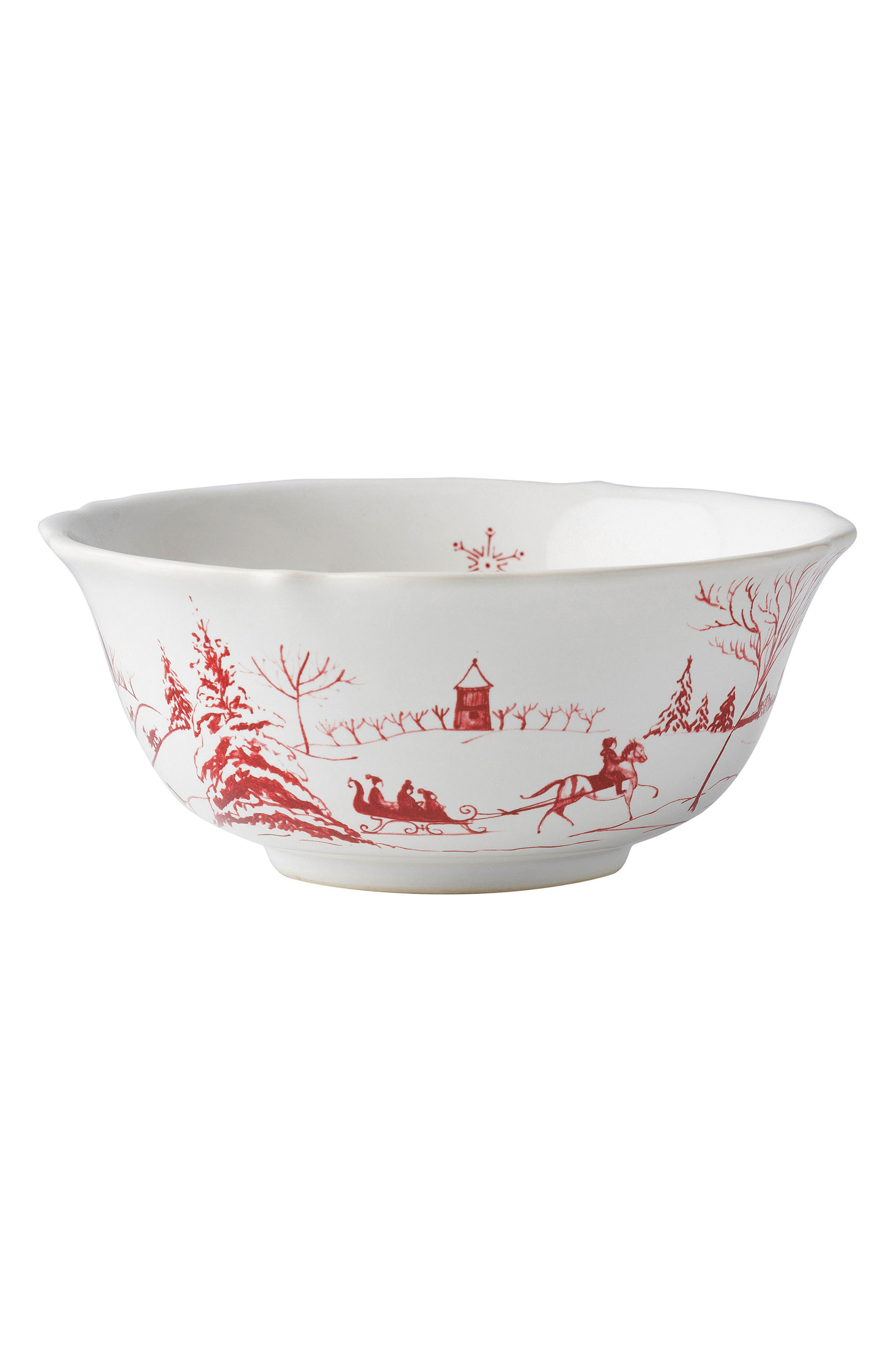 Winter Frolic Ceramic Cereal Bowl,                             Alternate thumbnail 3, color,                             Ruby