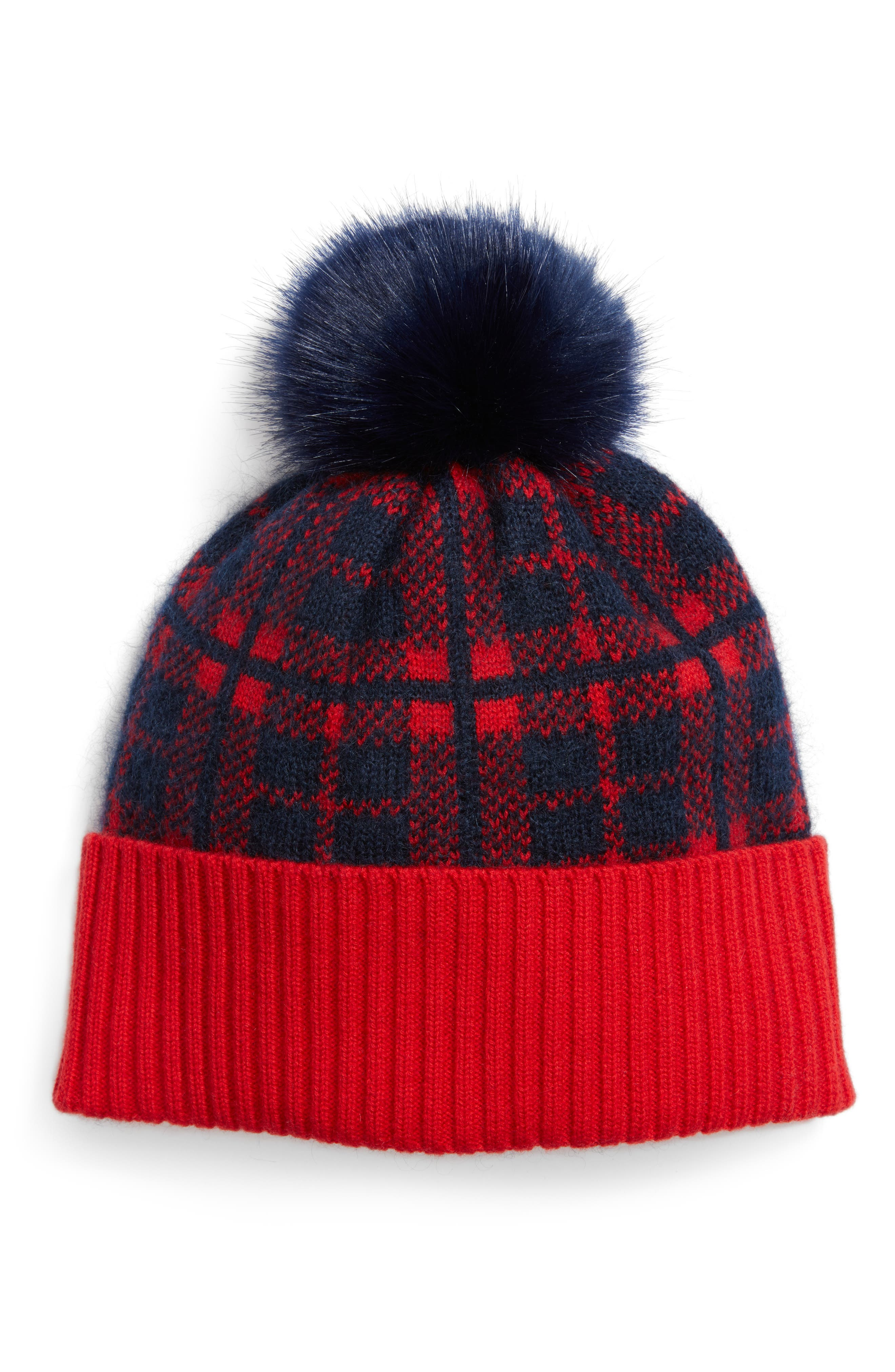 Carolina Check Pompom Hat,                         Main,                         color, Nassau Navy