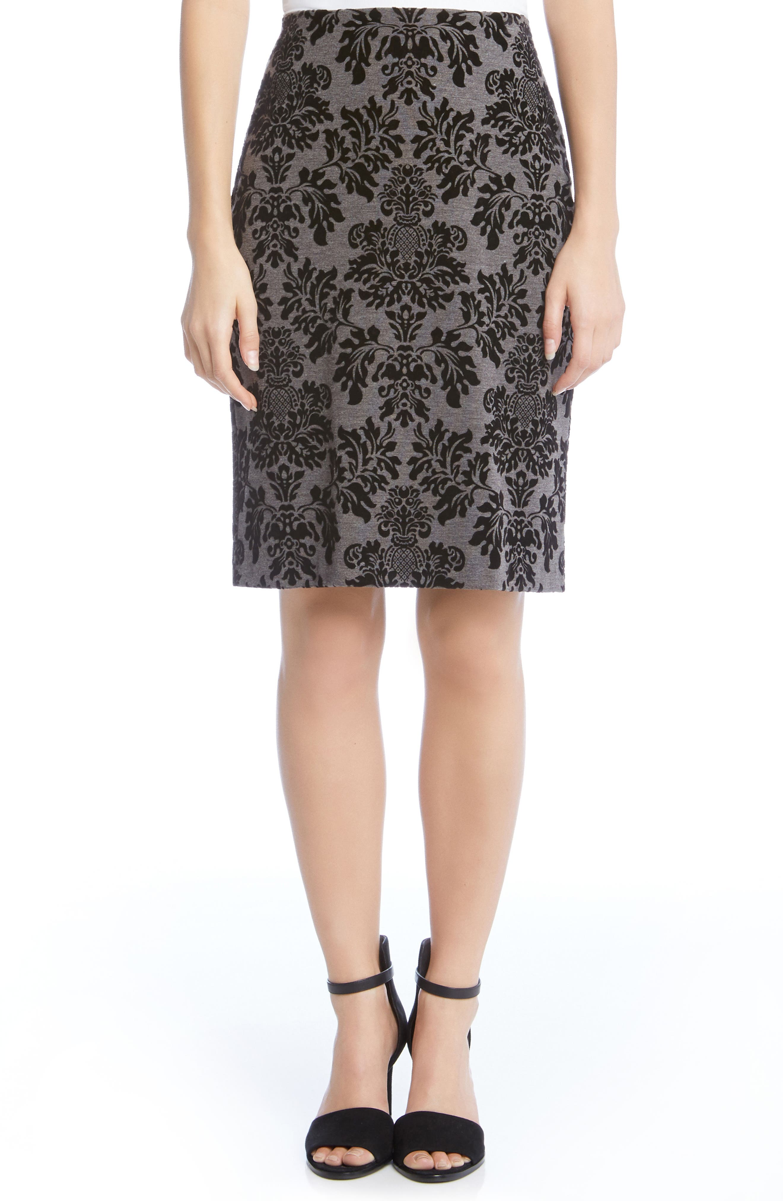 Embossed Velvet Skirt,                             Main thumbnail 1, color,                             Grey W/ Black