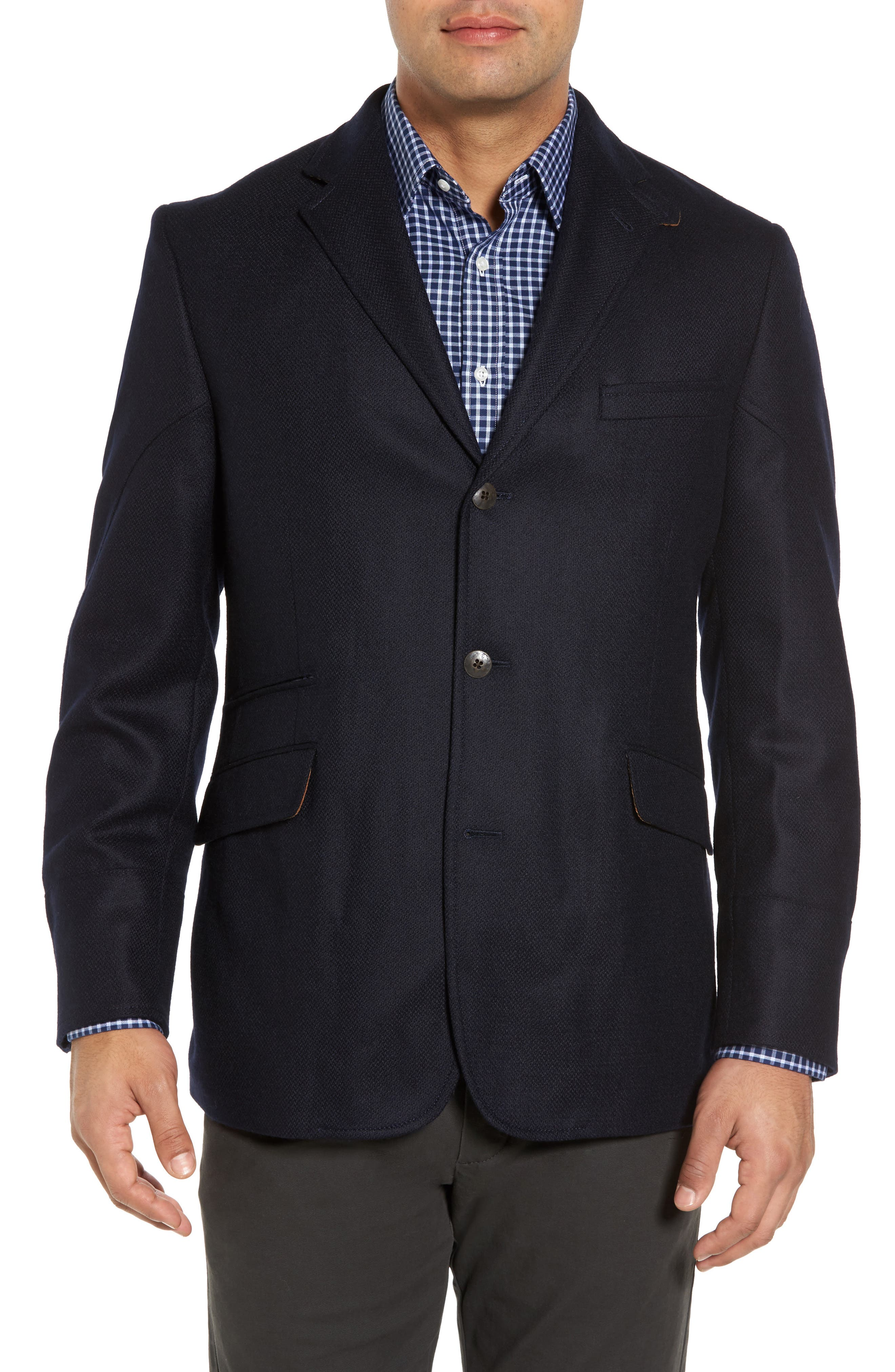 Ritchie Aim Hybrid Classic Fit Wool & Cashmere Sport Coat,                             Alternate thumbnail 4, color,                             Navy