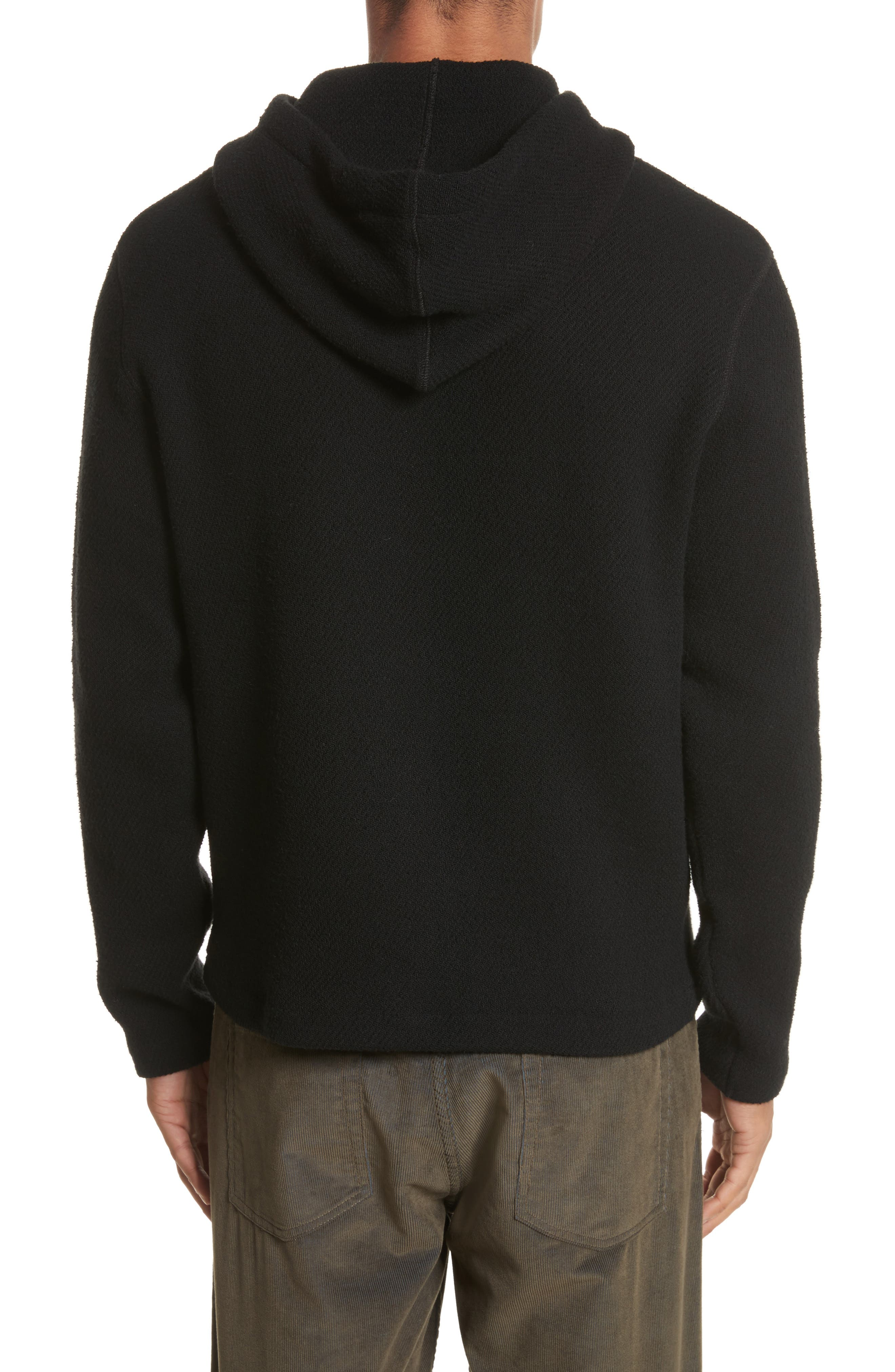Chunky Waffle Knit Hoodie,                             Alternate thumbnail 2, color,                             Black
