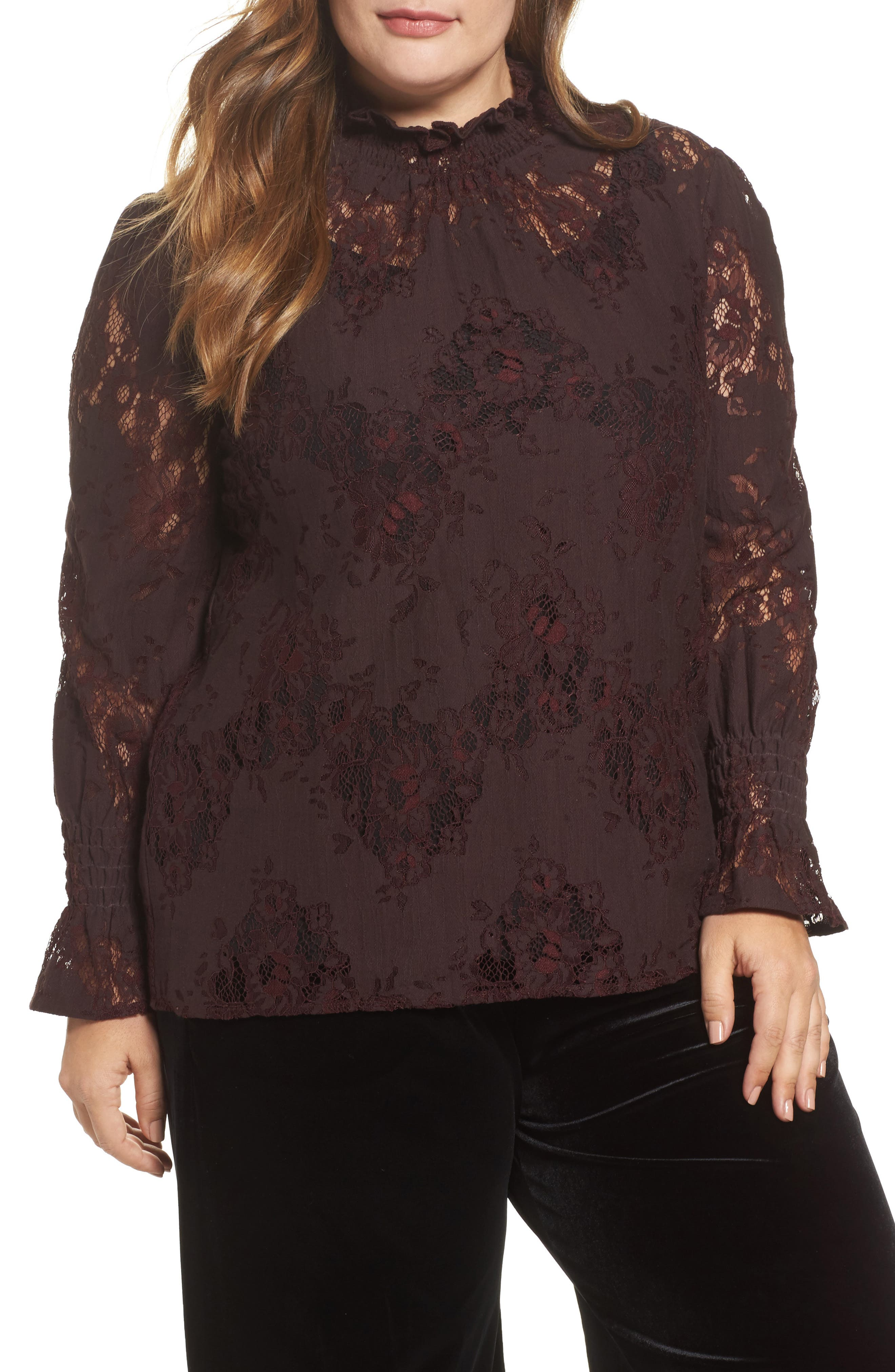 High Neck Ruffle & Lace Blouse,                             Main thumbnail 1, color,                             Burgundy