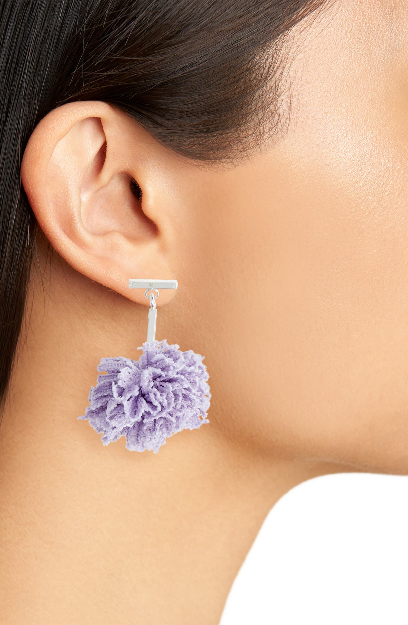 Lace Pom Pom T-Bar Stud Earrings,                             Alternate thumbnail 2, color,                             Silver/ Lavender