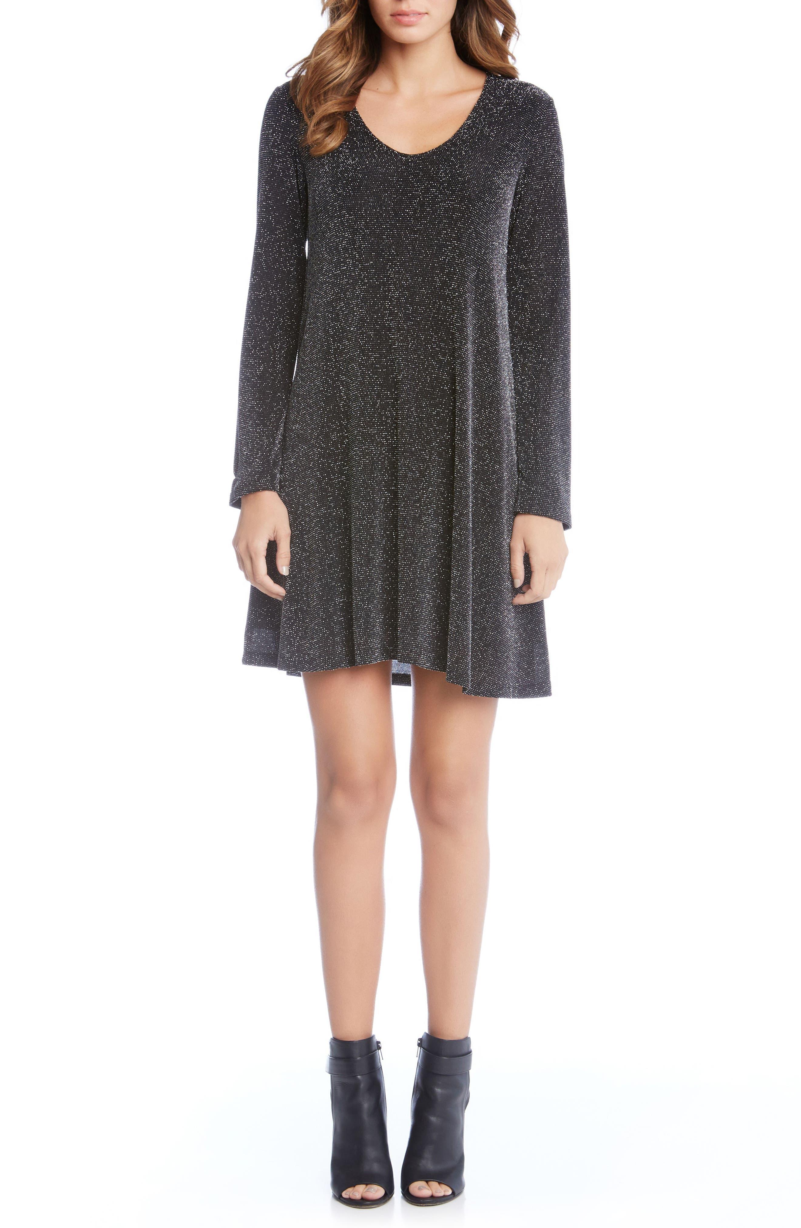 Sparkle Knit Shift Dress,                         Main,                         color, Black/ Silver