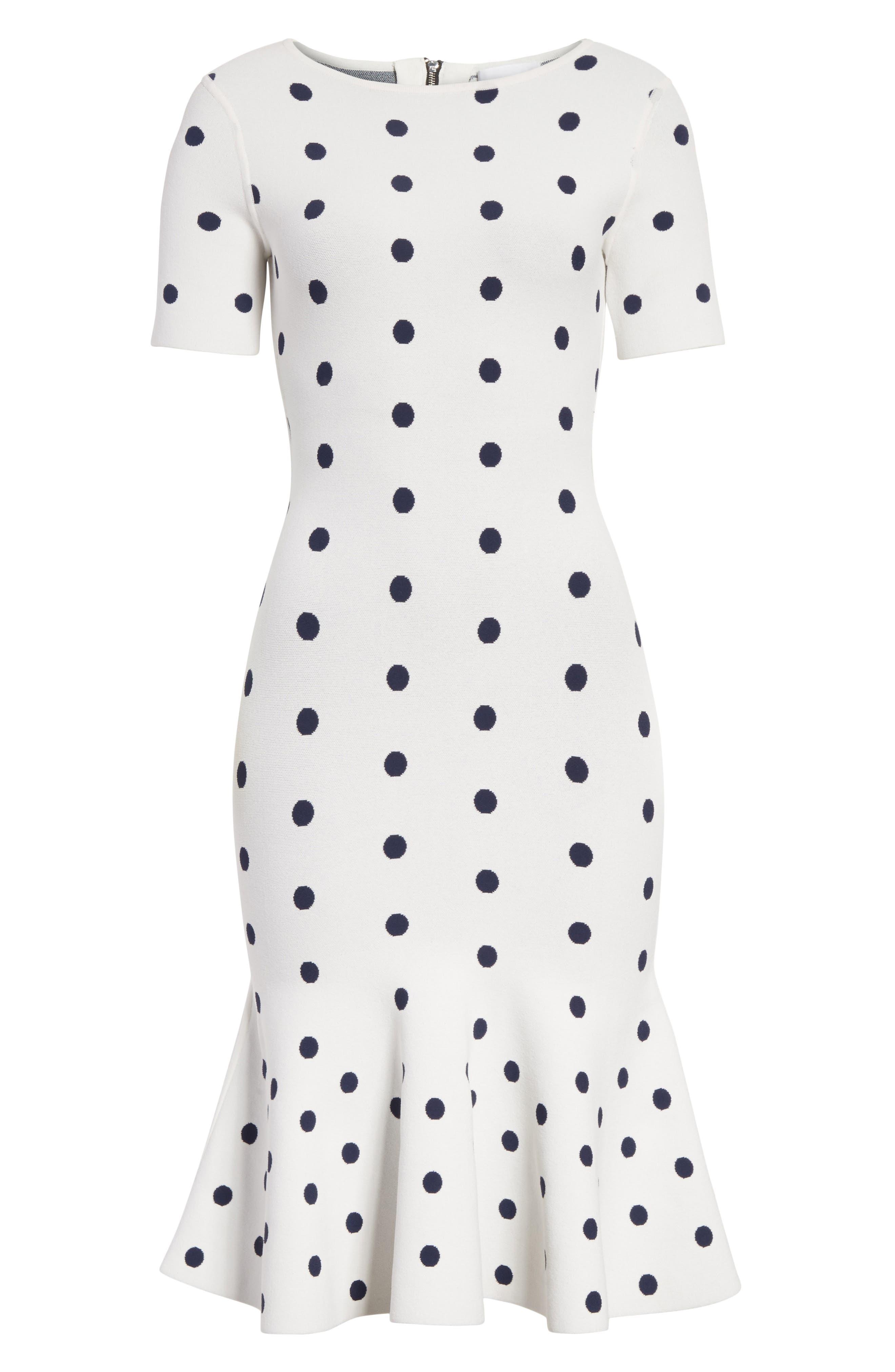 Polka Dot Mermaid Dress,                             Alternate thumbnail 6, color,                             White/ Navy