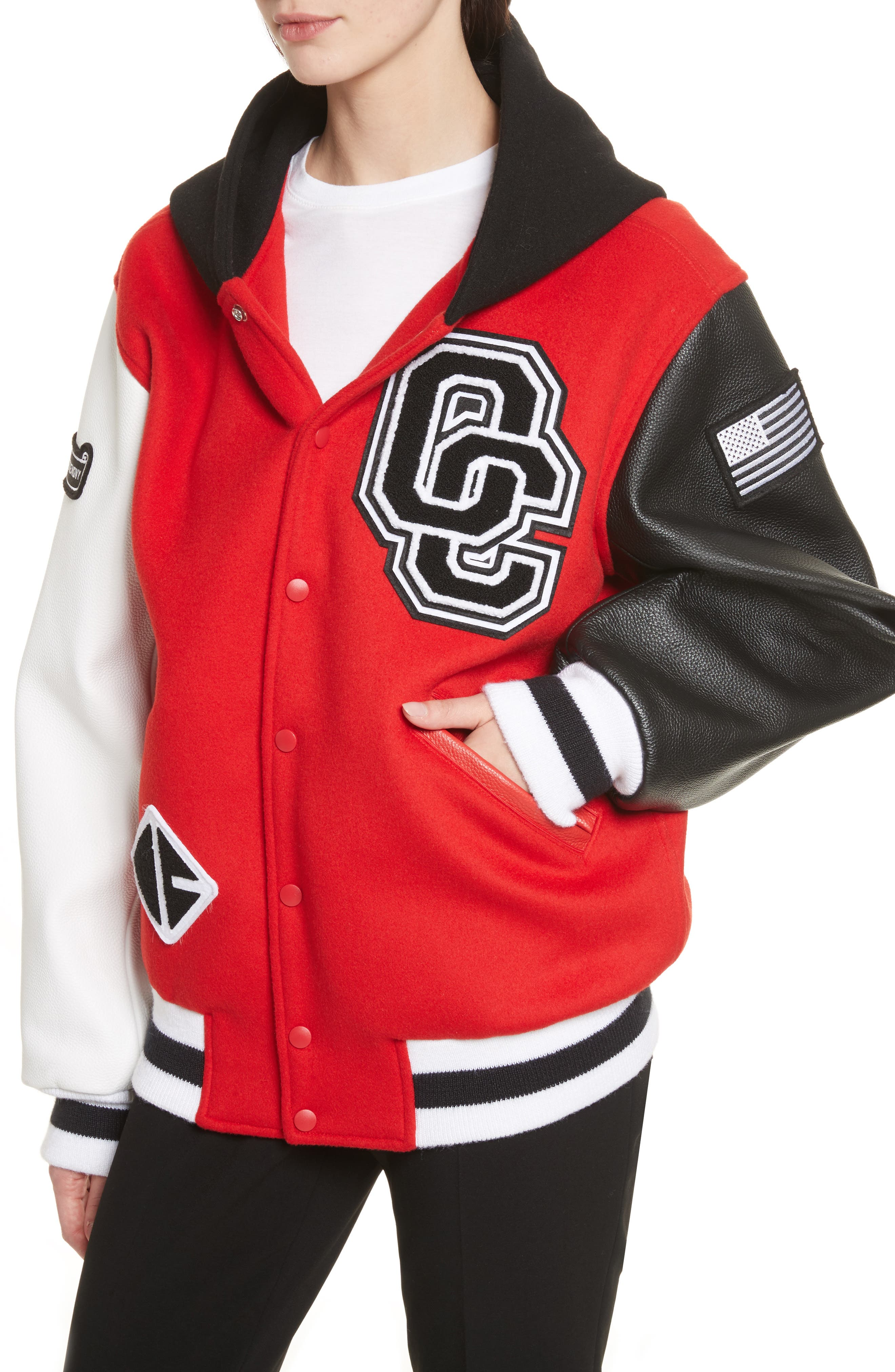 Hooded Varsity Jacket,                             Alternate thumbnail 3, color,                             Jewel Red