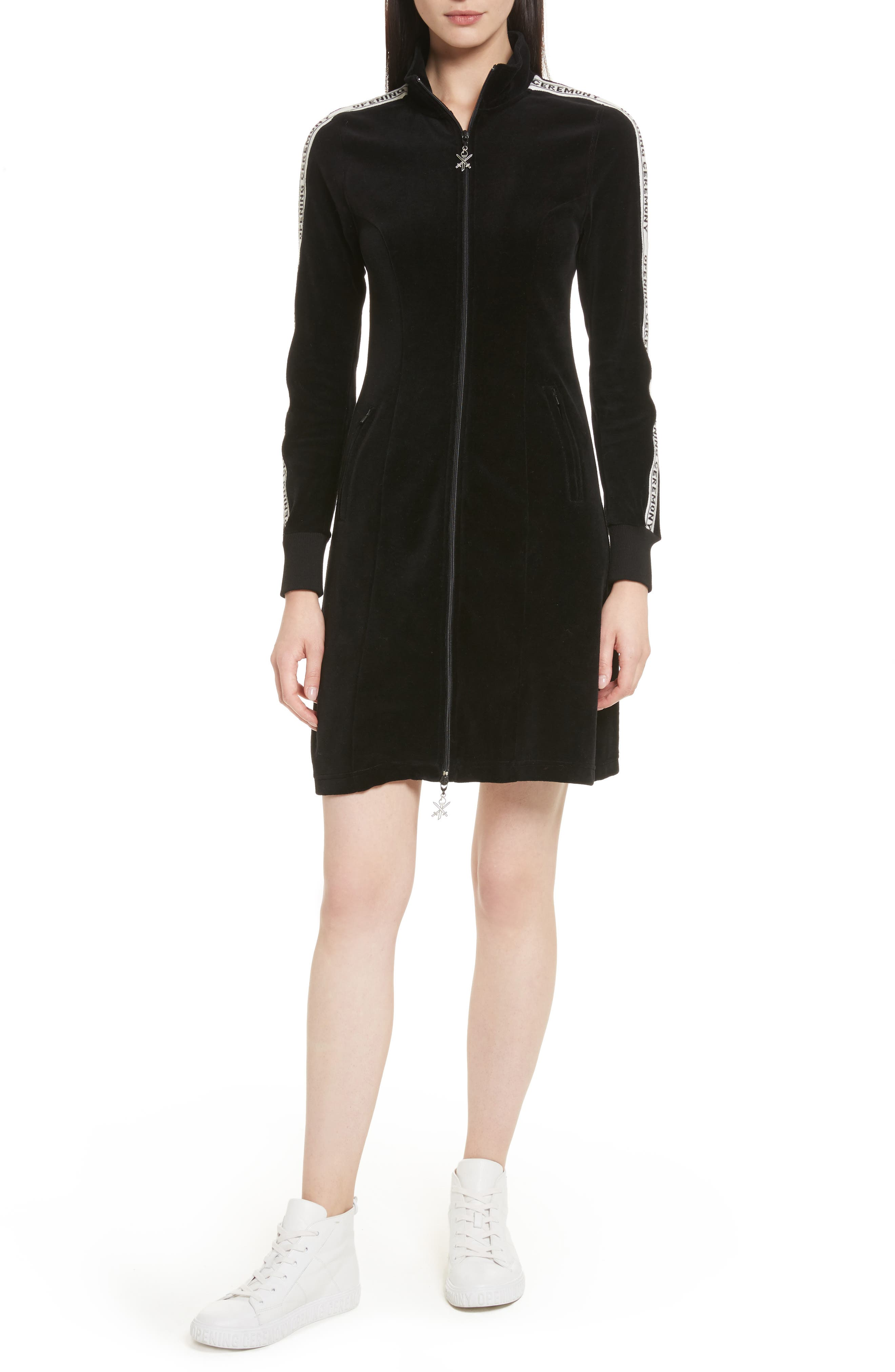 Velour Track Dress,                             Main thumbnail 1, color,                             Black