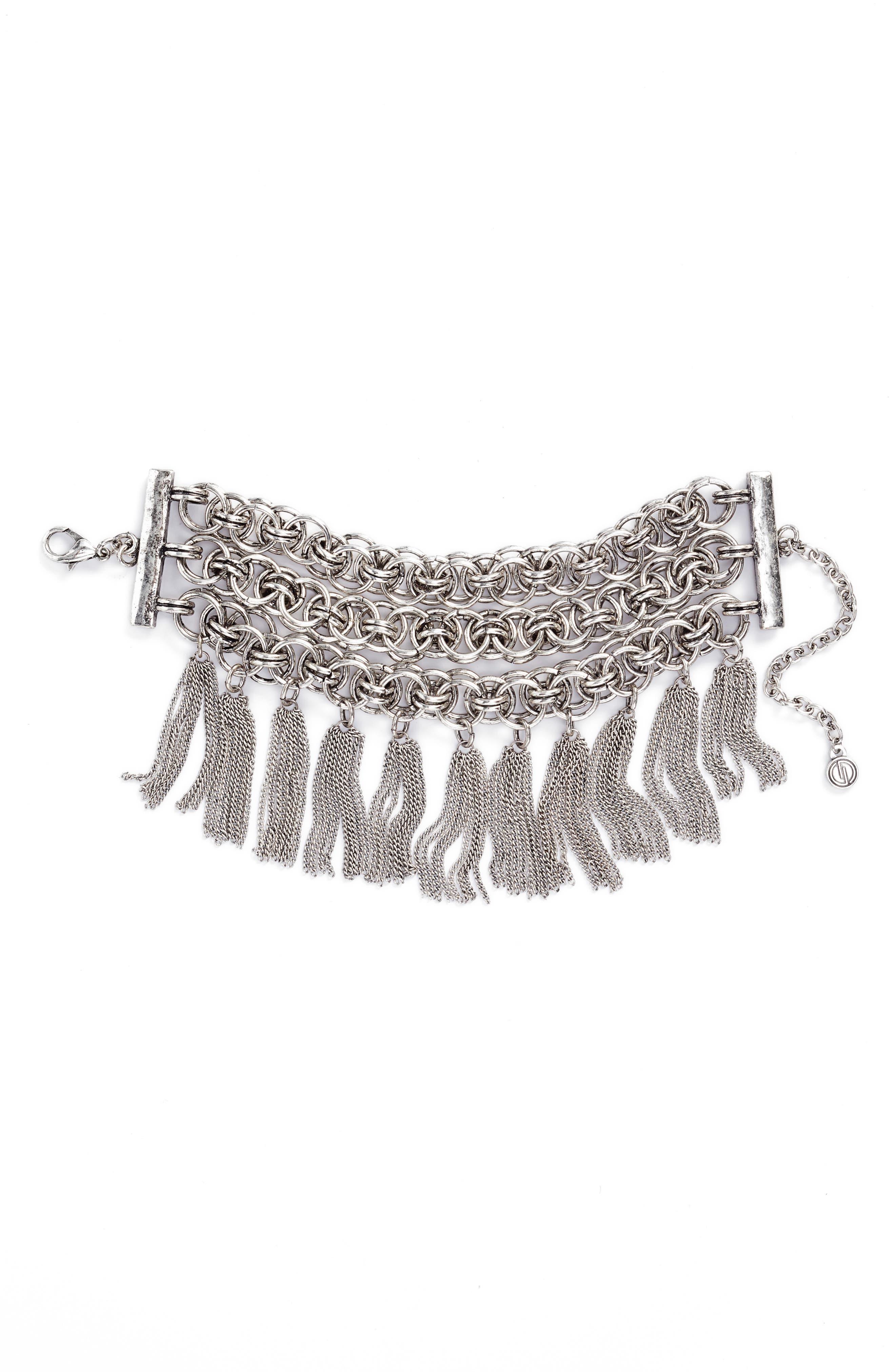 Chain Bracelet,                         Main,                         color, Antiqued Silver