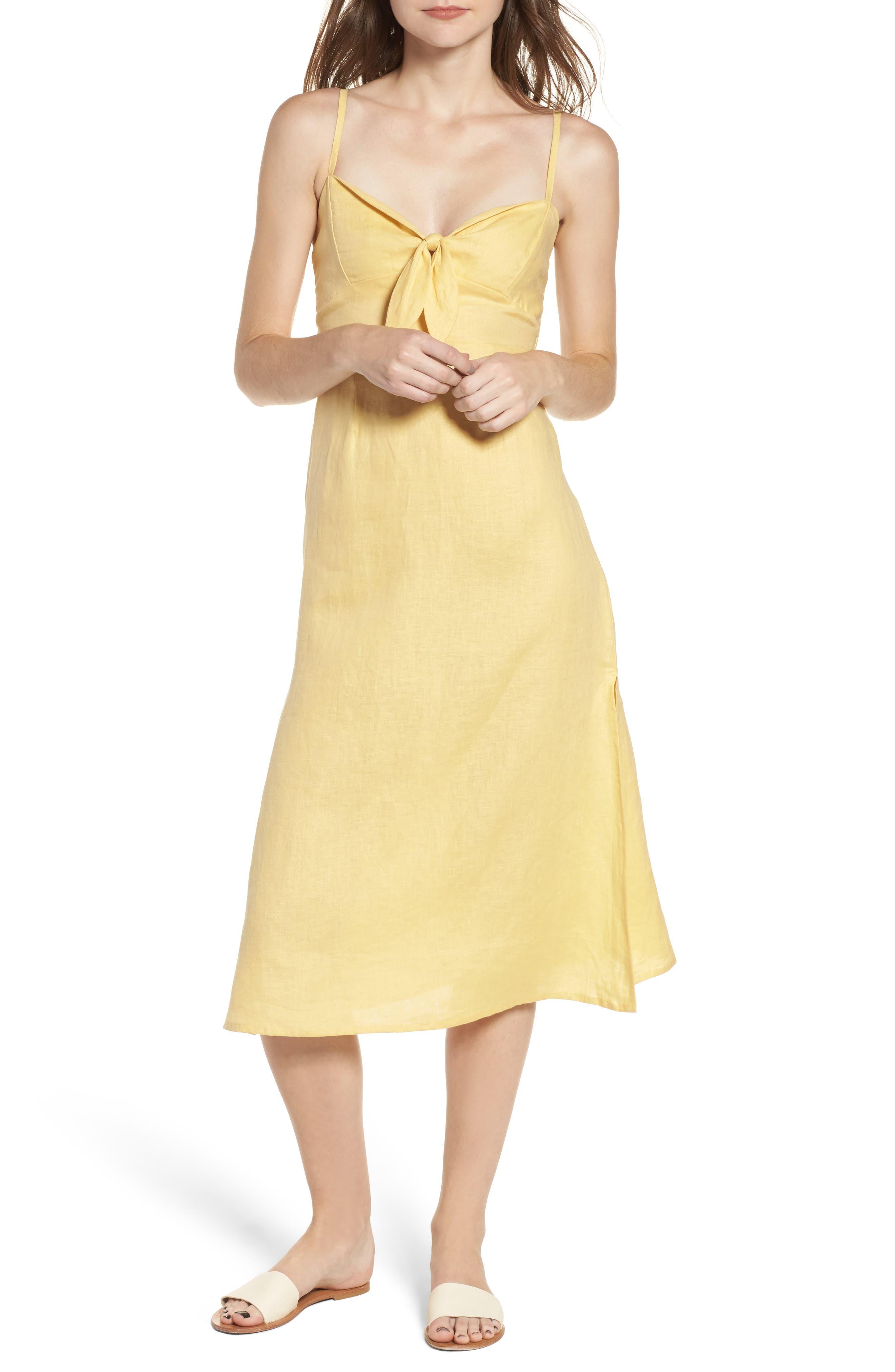 FAITHFULL THE BRAND Fiscardo Tie Front Linen Dress