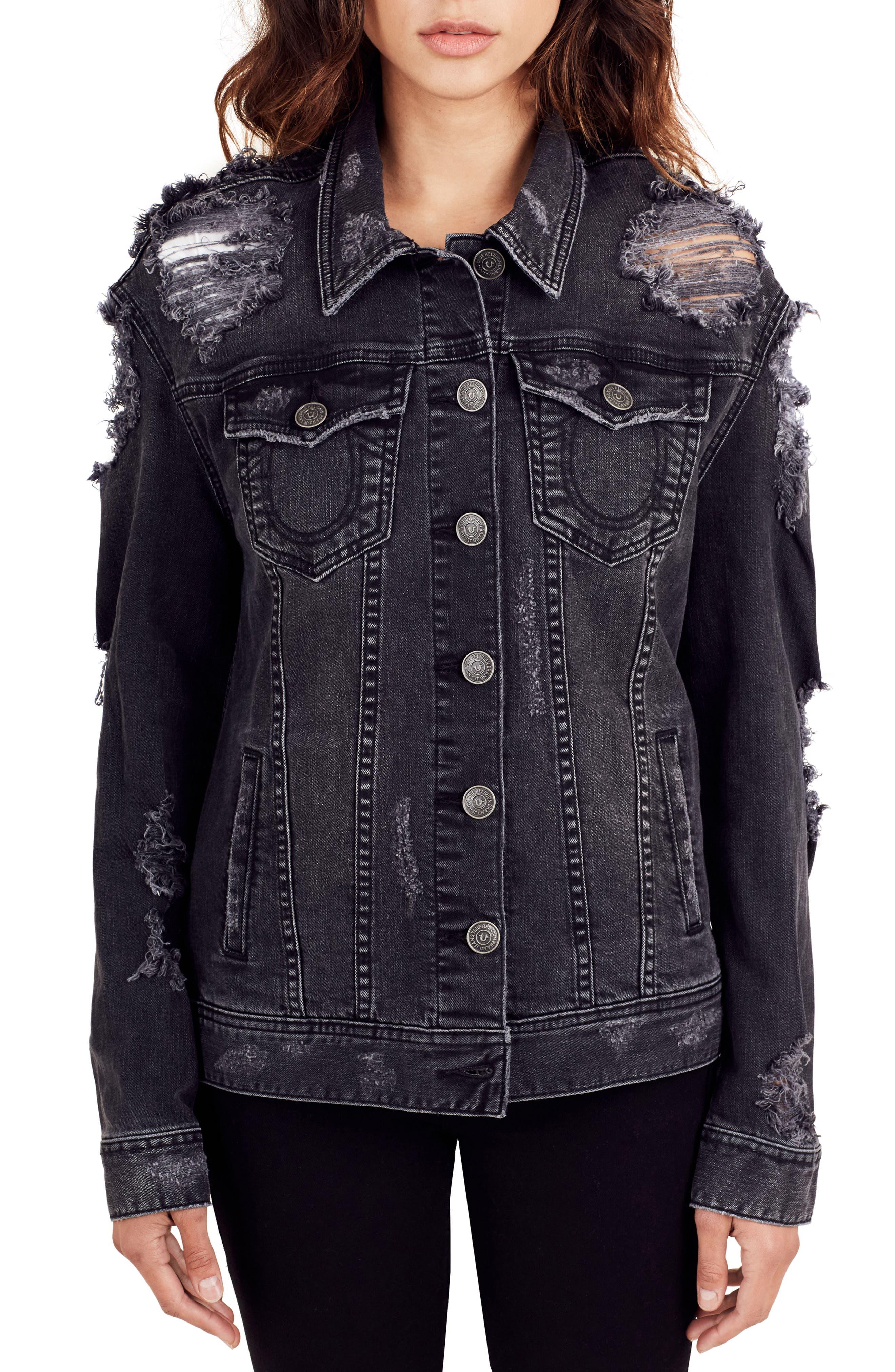 True Religion Danni Destroyed Denim Jacket,                             Main thumbnail 1, color,                             Backstage Destroy