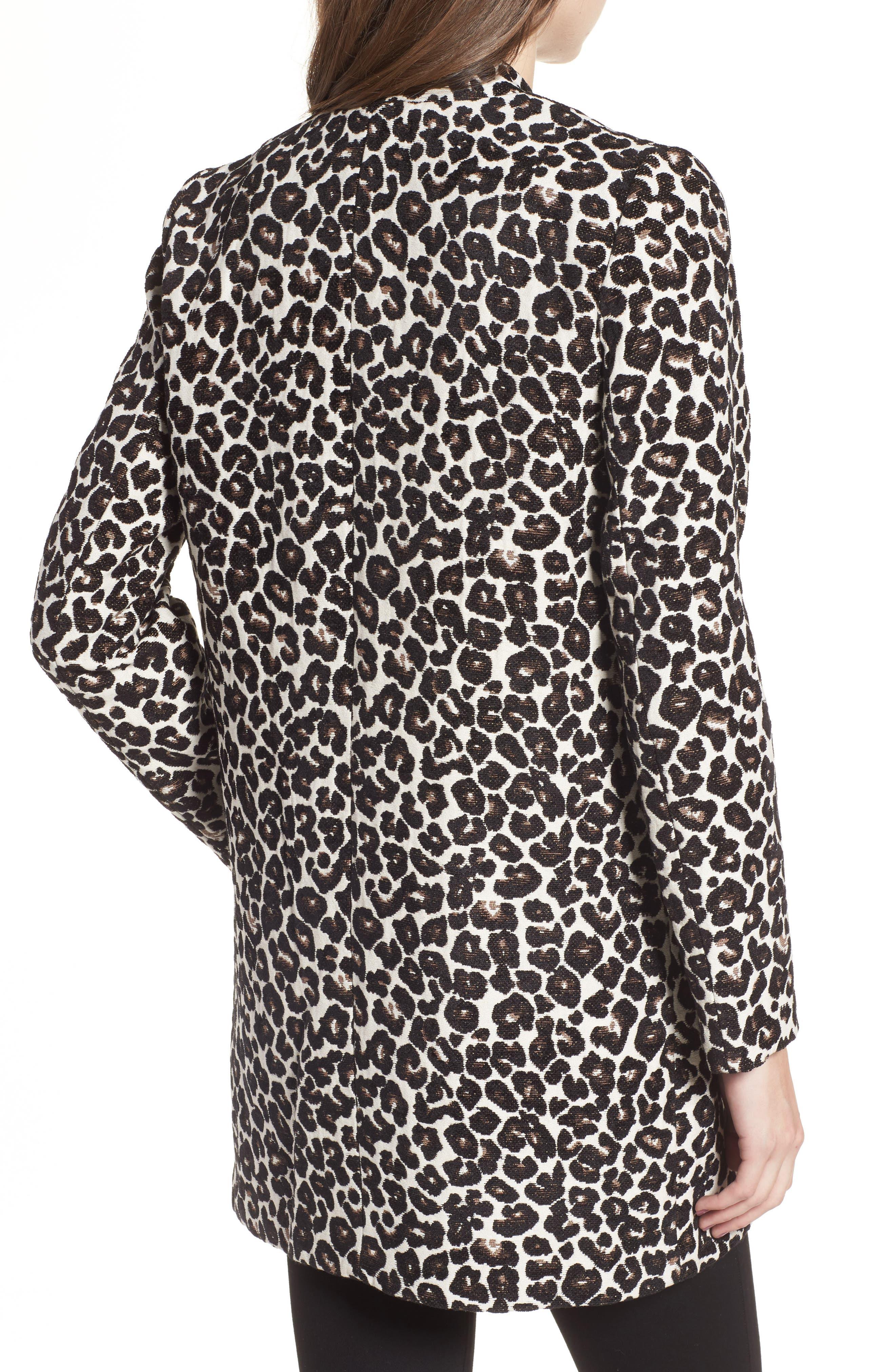 Leopard Print Car Coat,                             Alternate thumbnail 2, color,                             Leopard