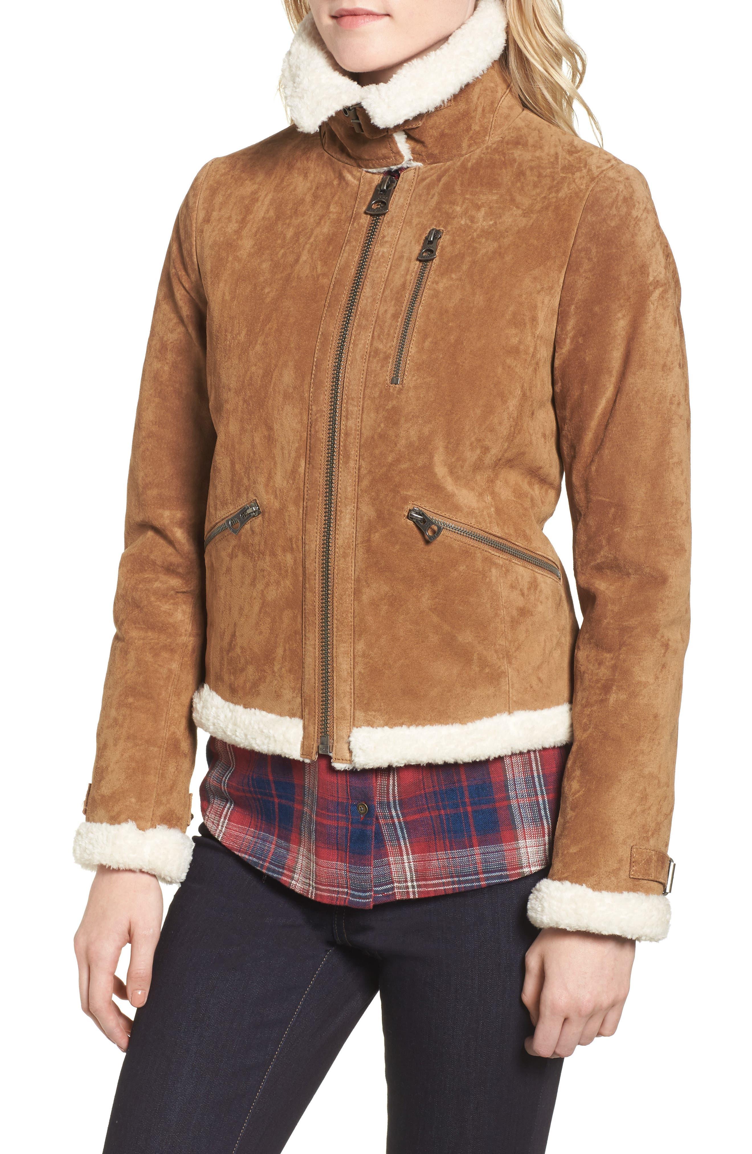 Leather Jacket with Faux Fur Trim,                             Alternate thumbnail 4, color,                             Chestnut