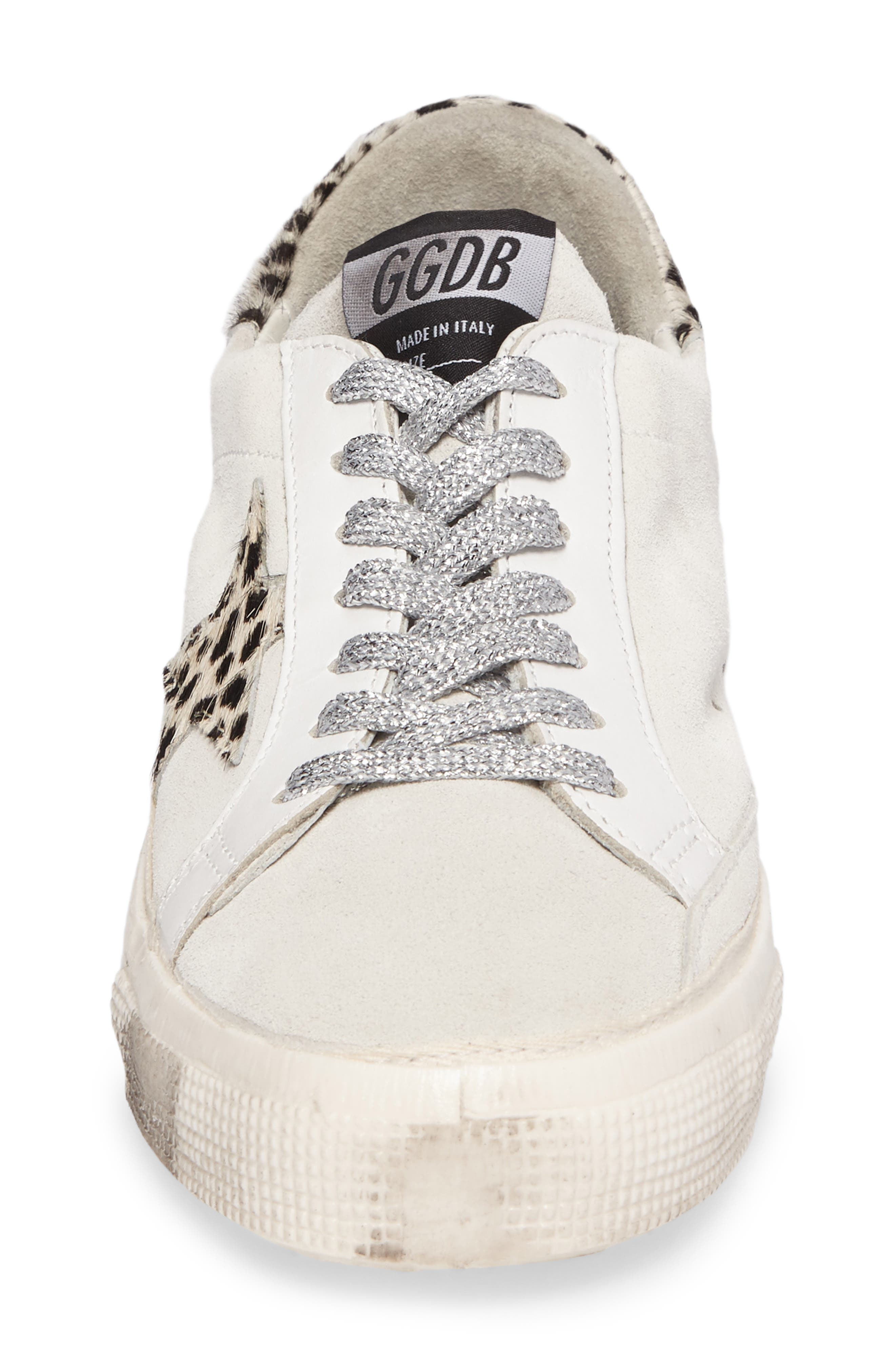 May Low Top Sneaker,                             Alternate thumbnail 4, color,                             White Suede/ Leopard