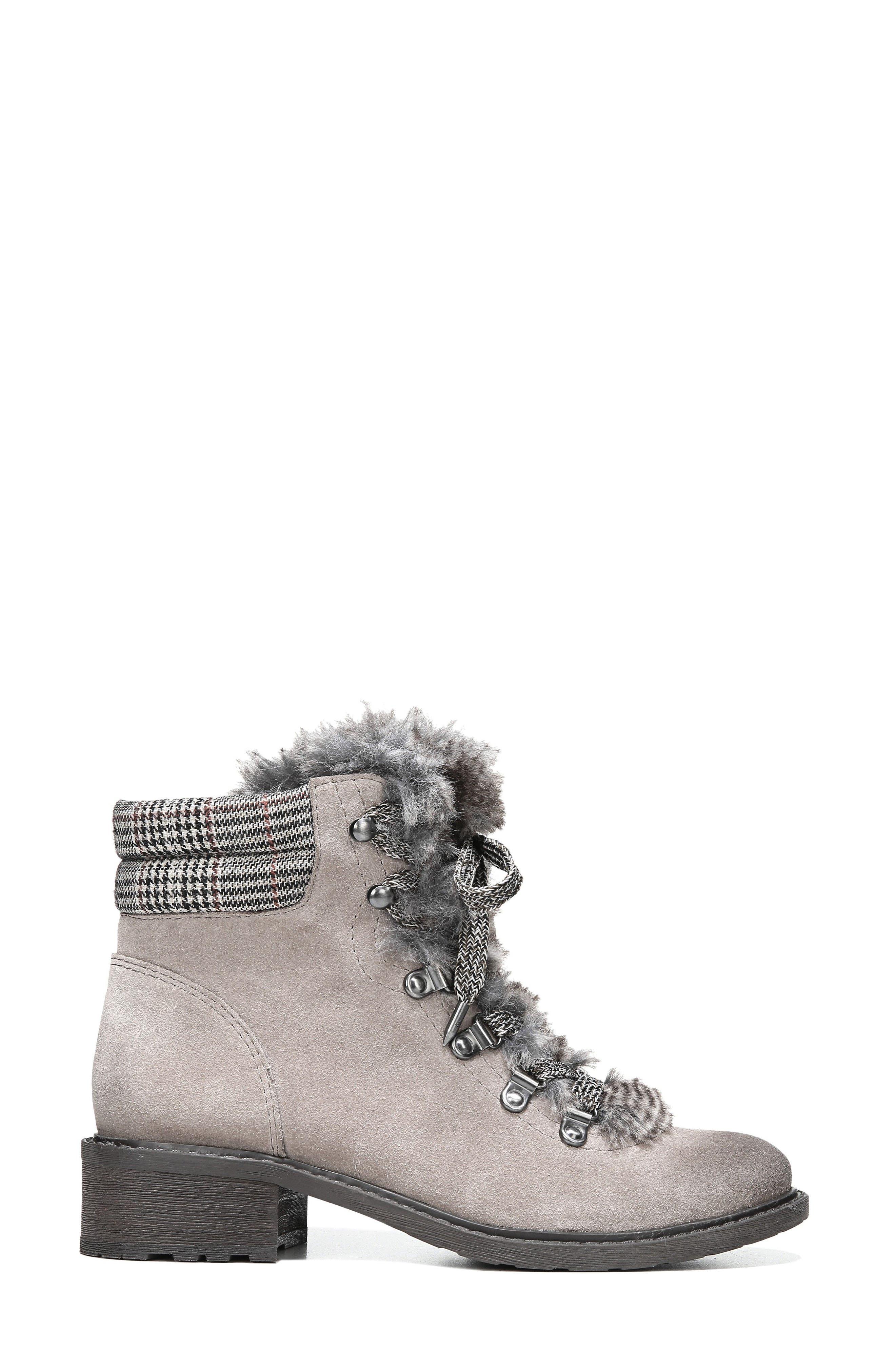 Darrah 2 Faux Fur Trim Boot,                             Alternate thumbnail 3, color,                             Grey Multi Suede