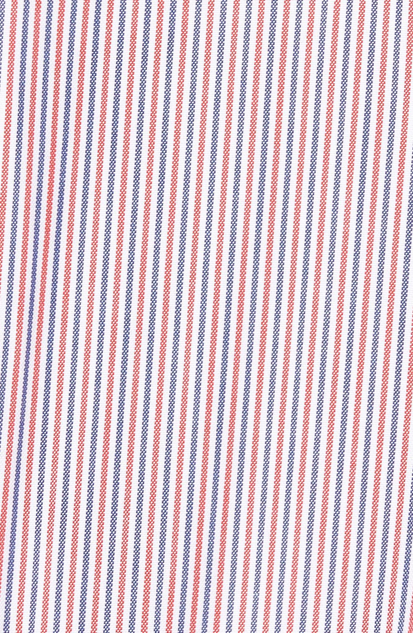 Button-Down Sport Shirt,                             Alternate thumbnail 5, color,                             Cherry Red/ Methylene-White