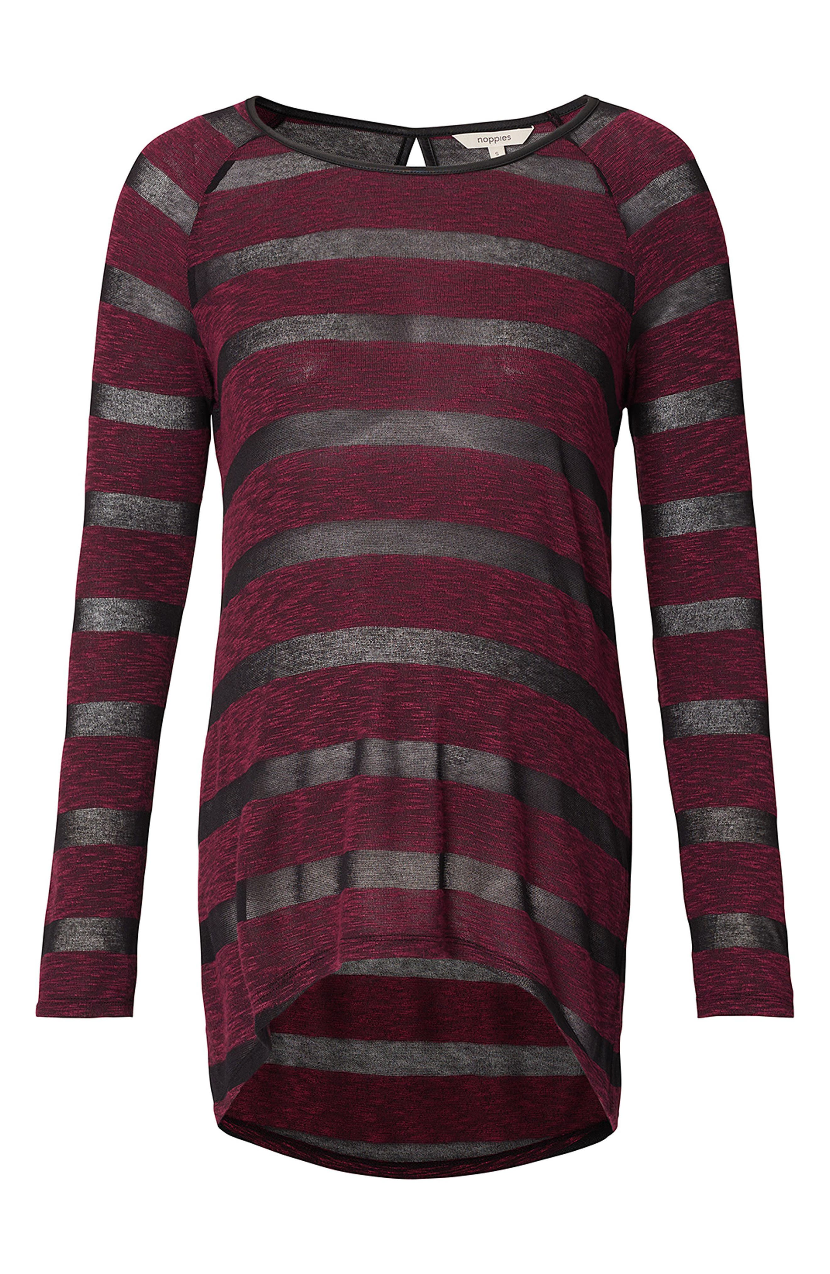 Stripe Maternity Tunic,                         Main,                         color, Wine