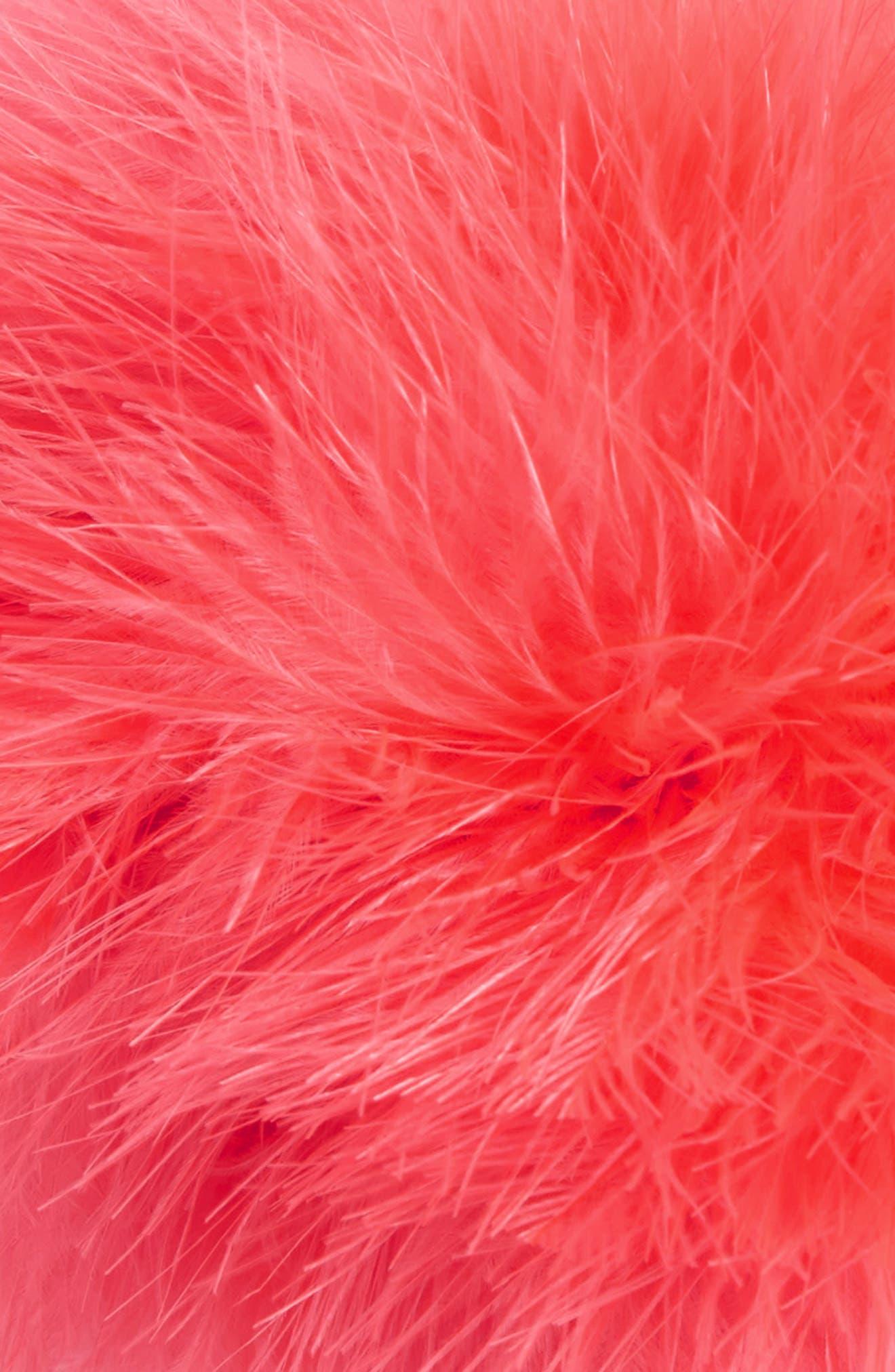 Alternate Image 3  - Cara Feather Pompom Ponytail Holder