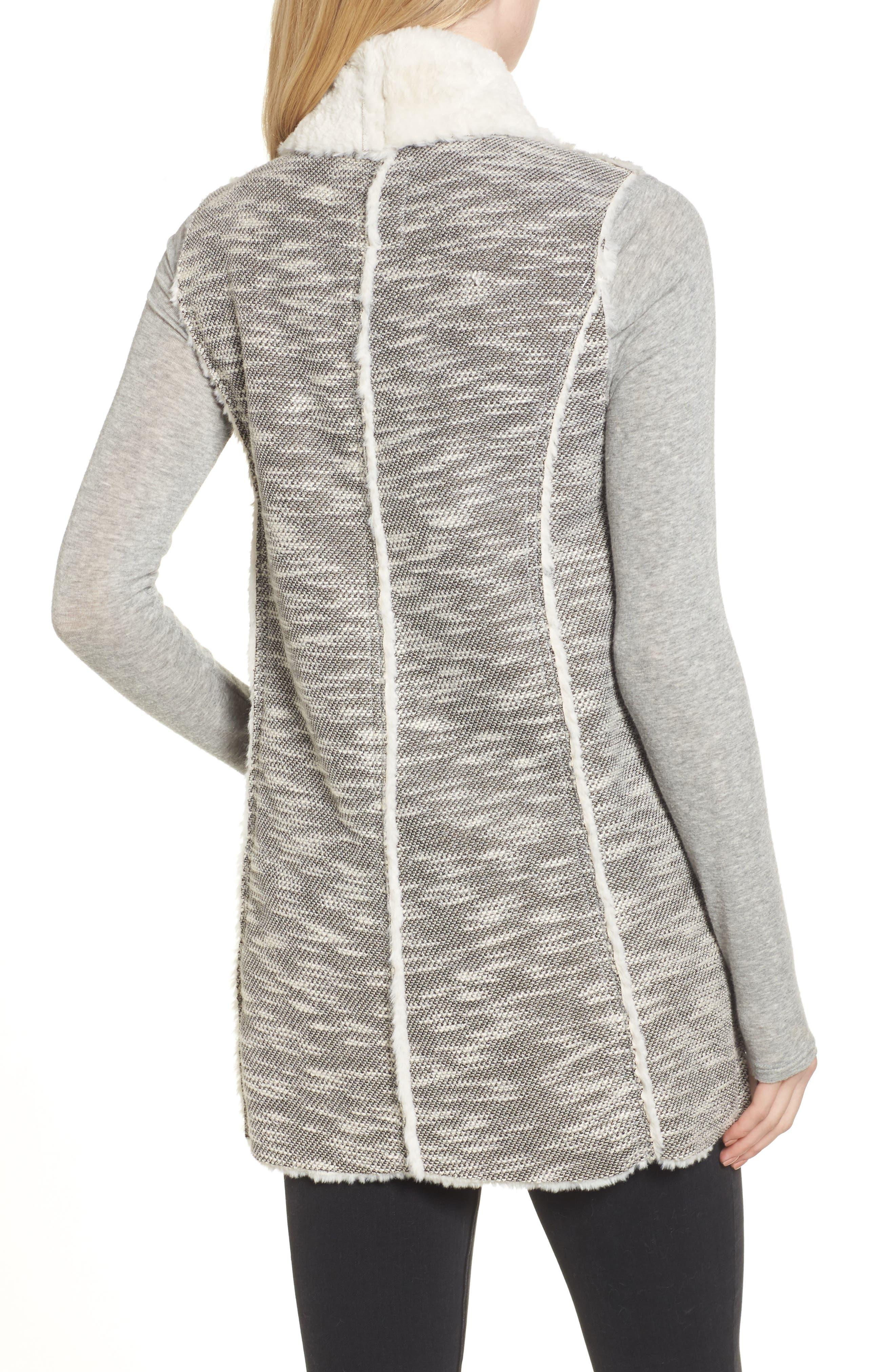 Faux Shearling Vest,                             Alternate thumbnail 2, color,                             Black/ White