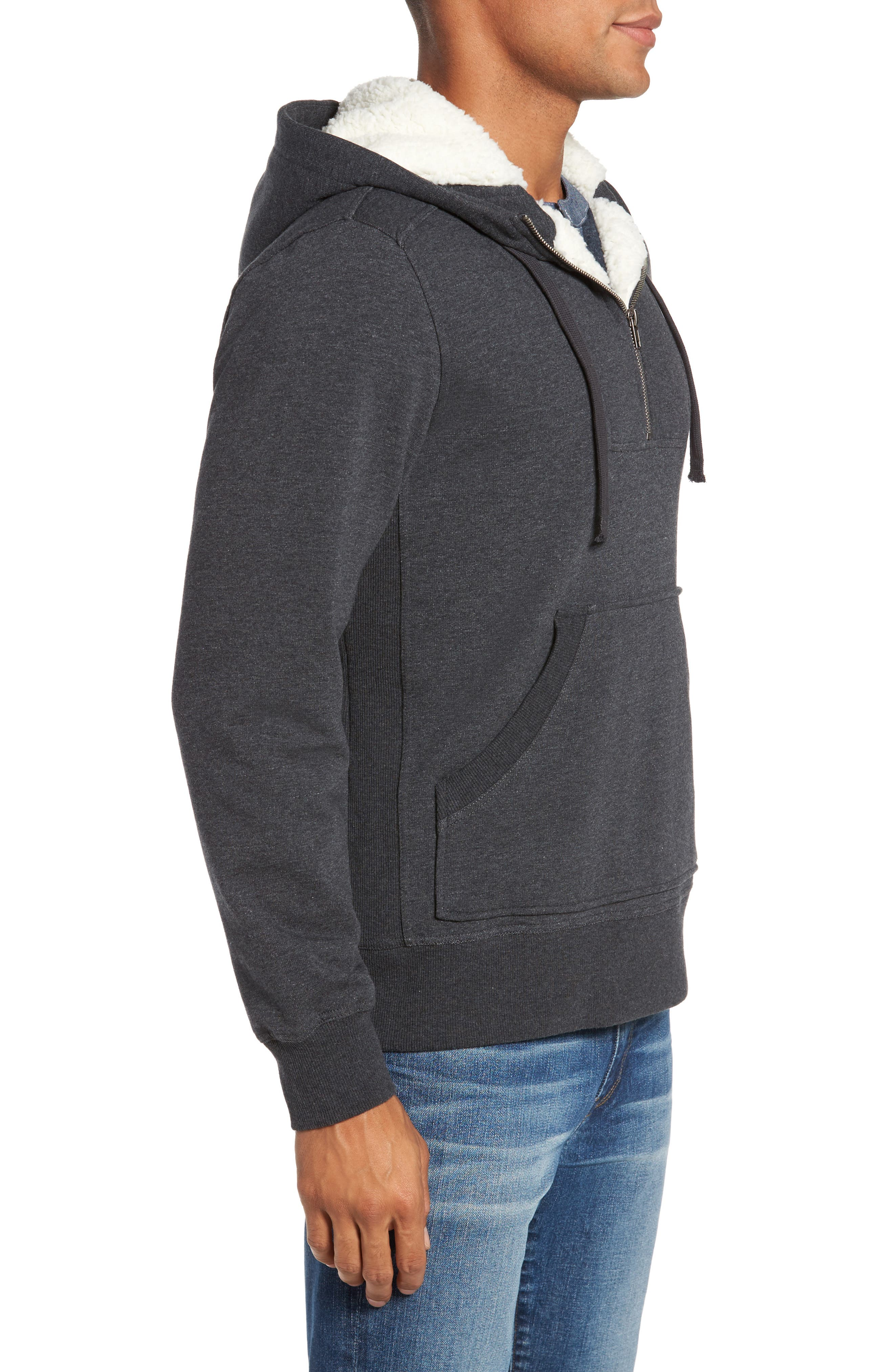 Fleece Lined Hoodie,                             Alternate thumbnail 3, color,                             Charcoal