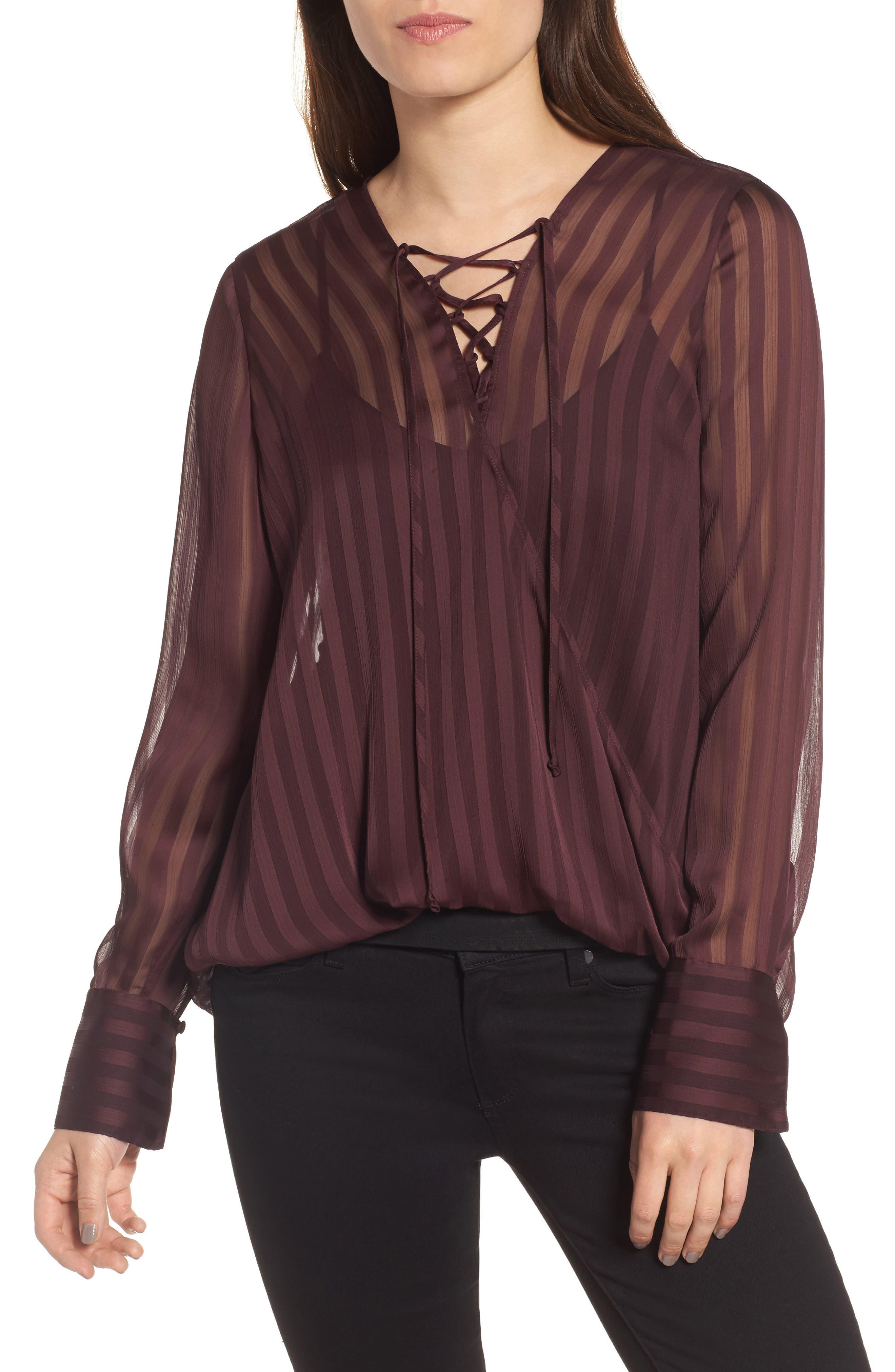 Sheer Shadow Stripe Top,                         Main,                         color, Burgundy Stem