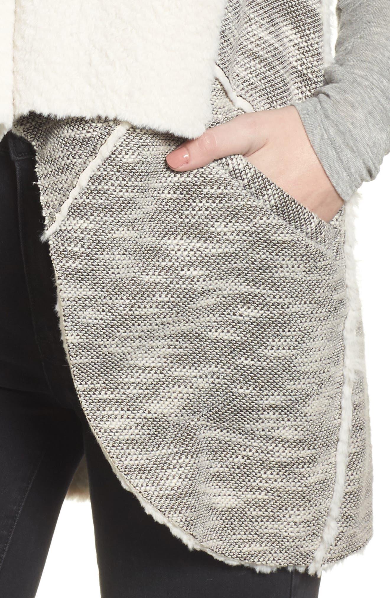 Faux Shearling Vest,                             Alternate thumbnail 4, color,                             Black/ White