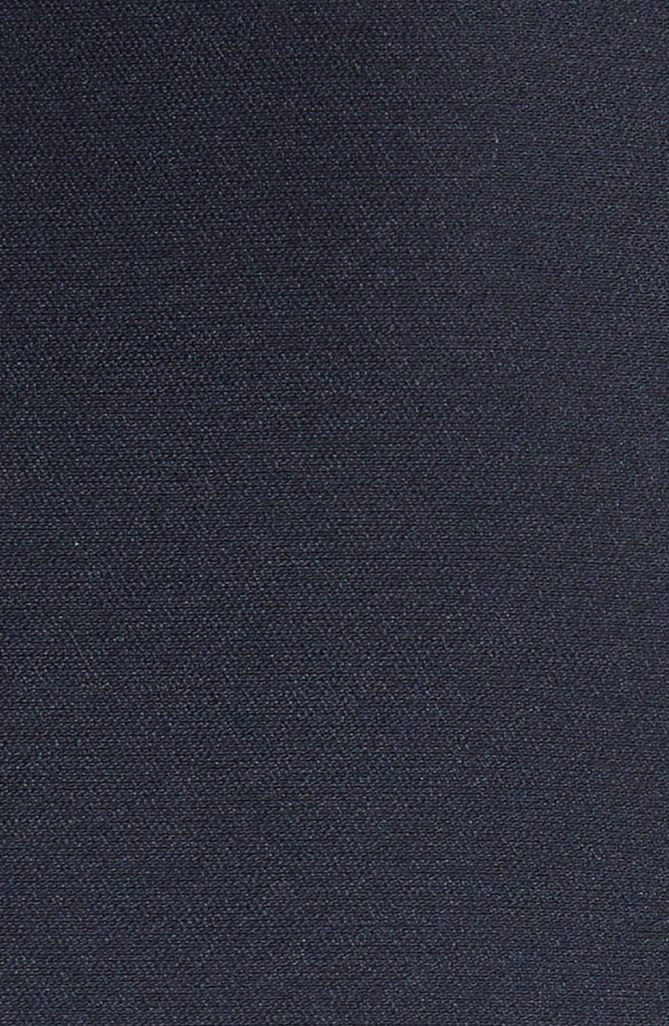 velvet bow fit & flare dress,                             Alternate thumbnail 5, color,                             Rich Navy