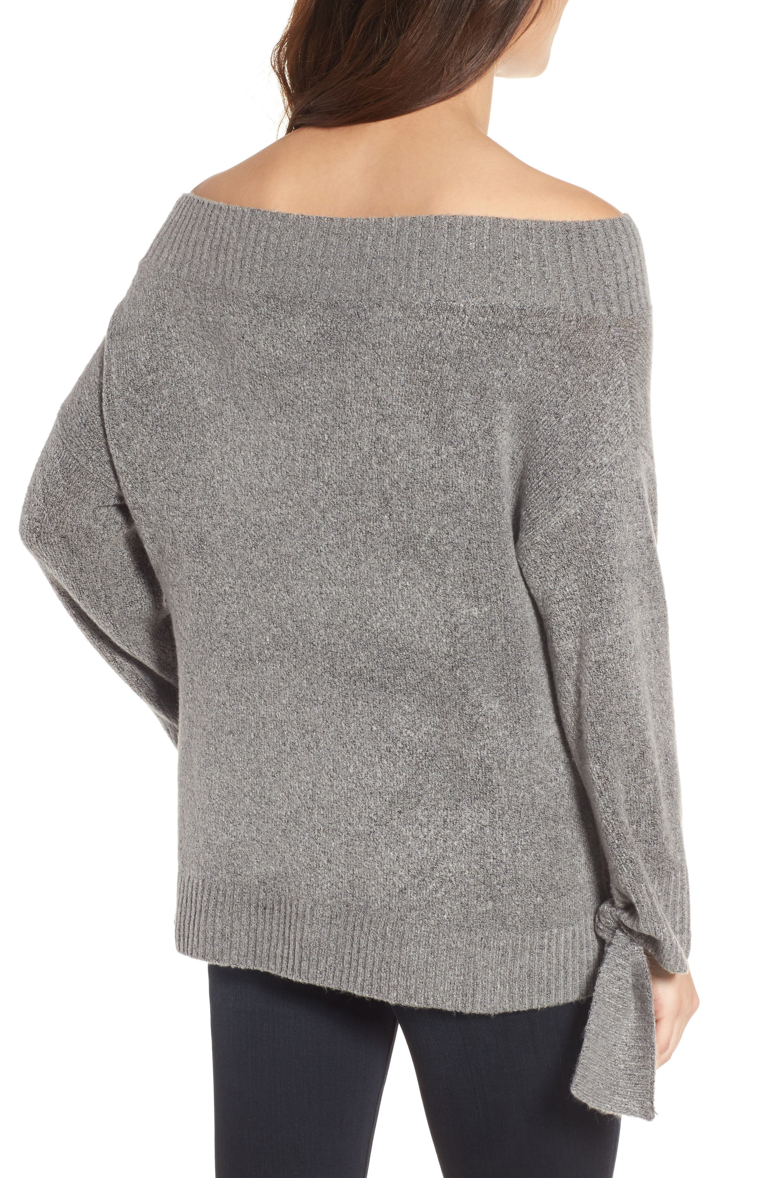 Off the Shoulder Sweater,                             Alternate thumbnail 2, color,                             Grey Heather Rainbow Multi