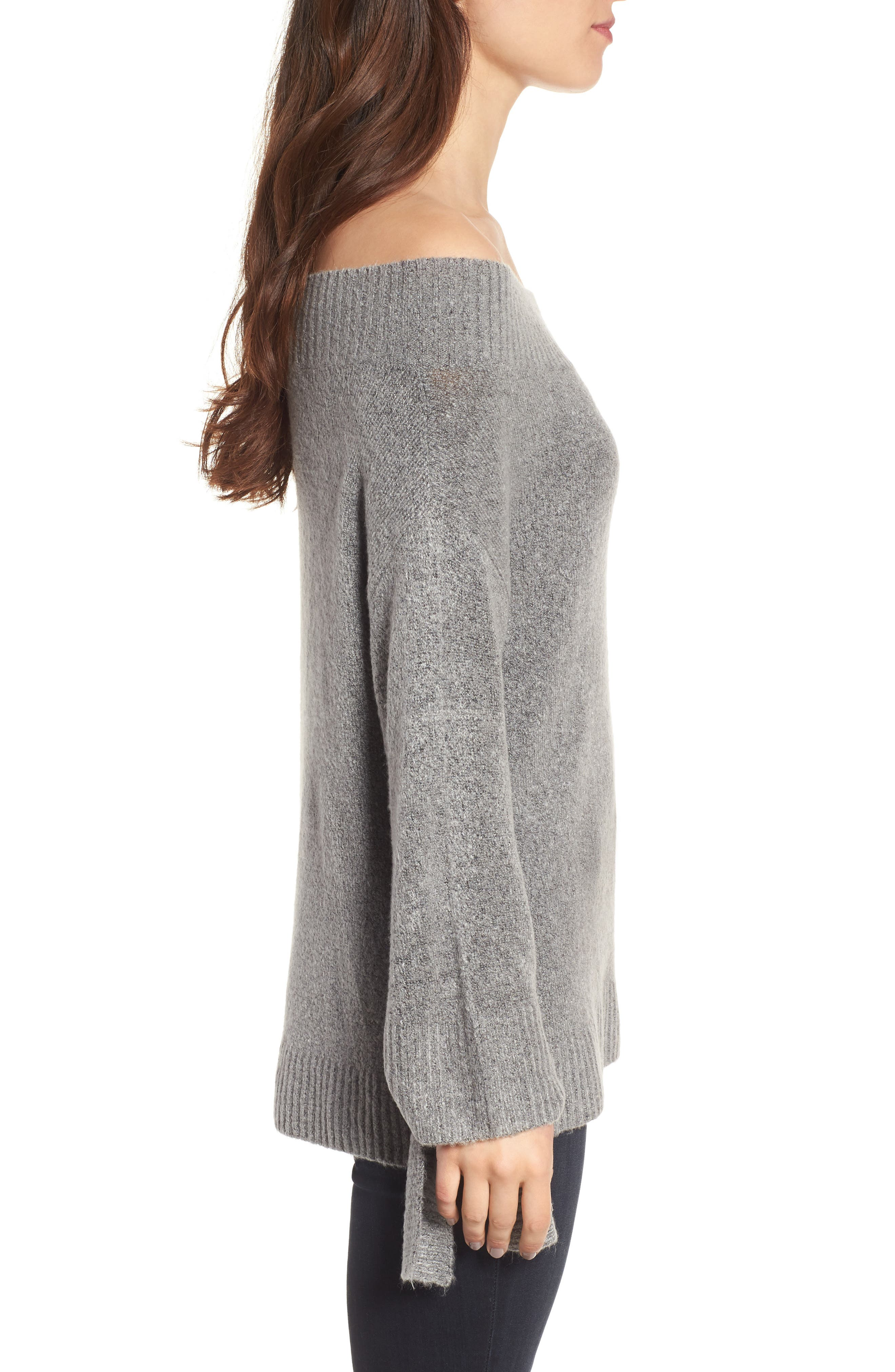 Off the Shoulder Sweater,                             Alternate thumbnail 3, color,                             Grey Heather Rainbow Multi