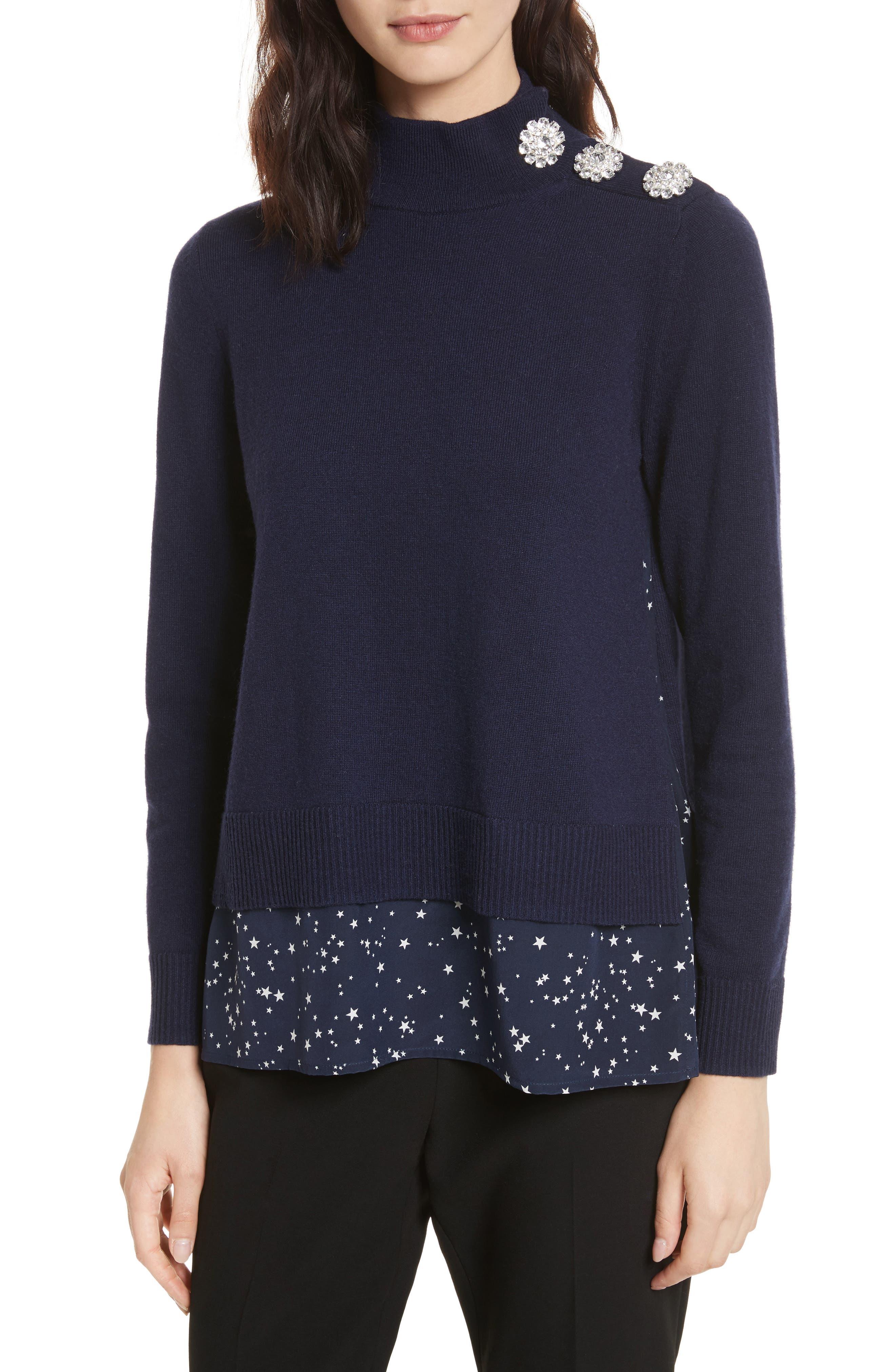 night sky mixed media sweater,                         Main,                         color, Rich Navy