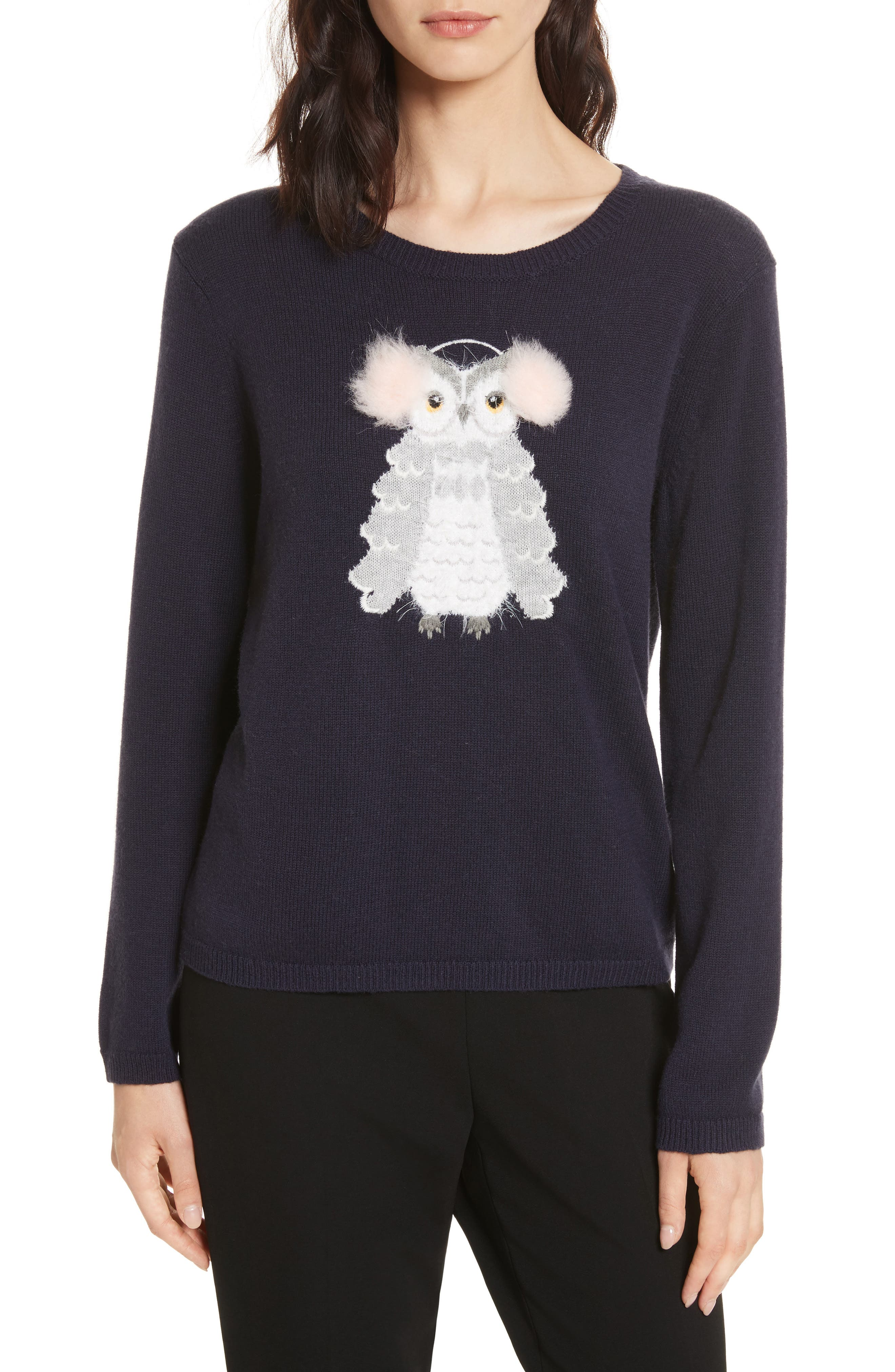 owl sweater,                             Main thumbnail 1, color,                             Navy Multi