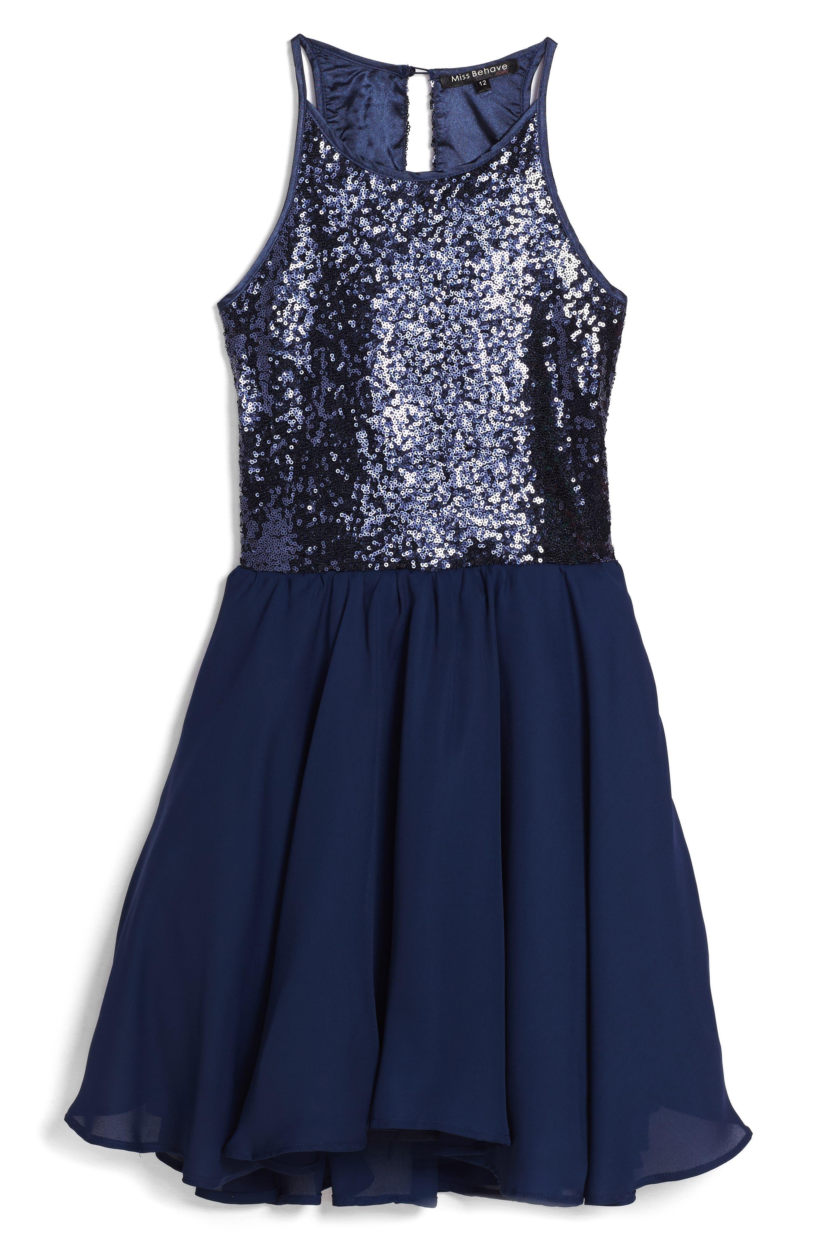 Main Image - Miss Behave Josie Sequin Bodice Chiffon Dress (Big Girls)