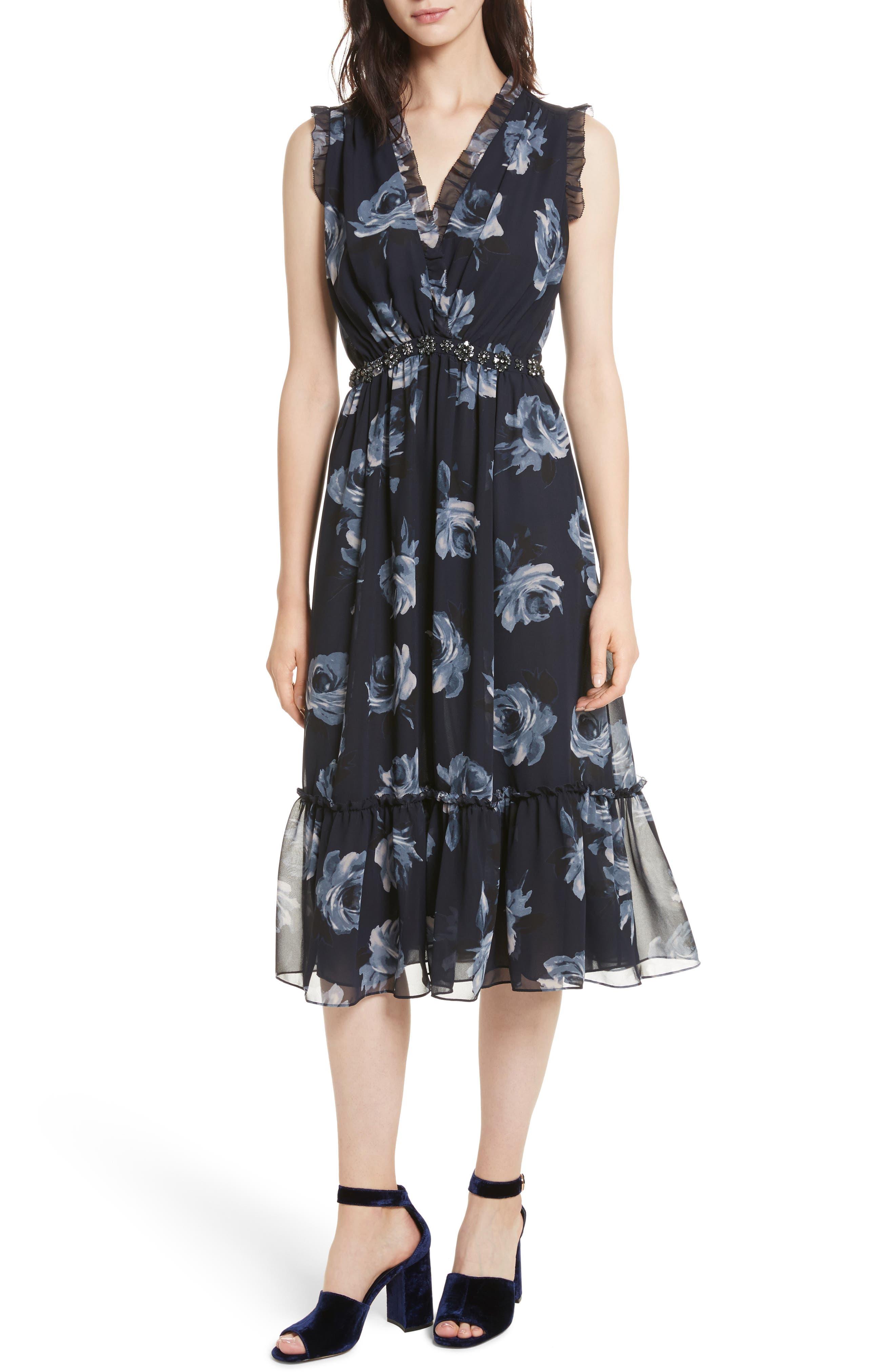 kade spade new york Night Rose Chiffon Midi Dress,                         Main,                         color, Rich Navy