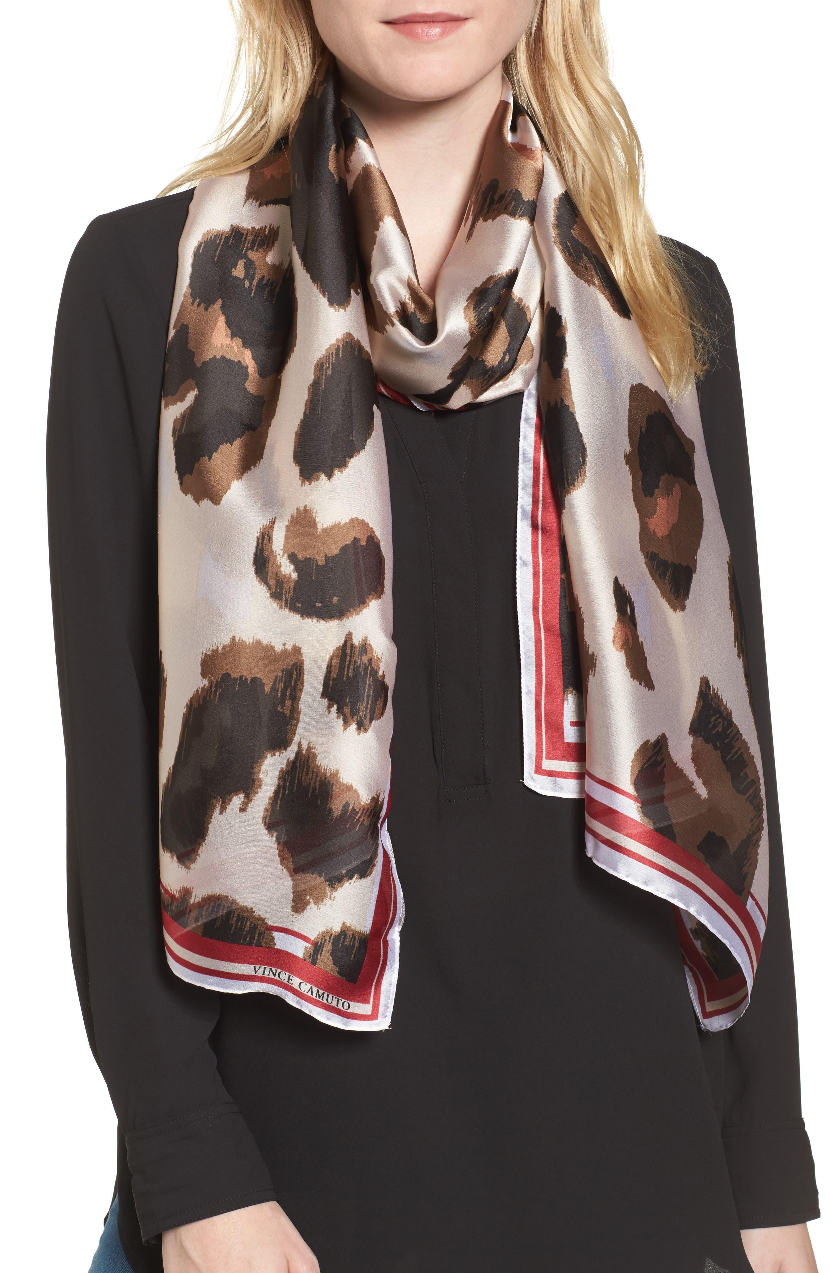 Leopard Print Scarf,                         Main,                         color, Chili