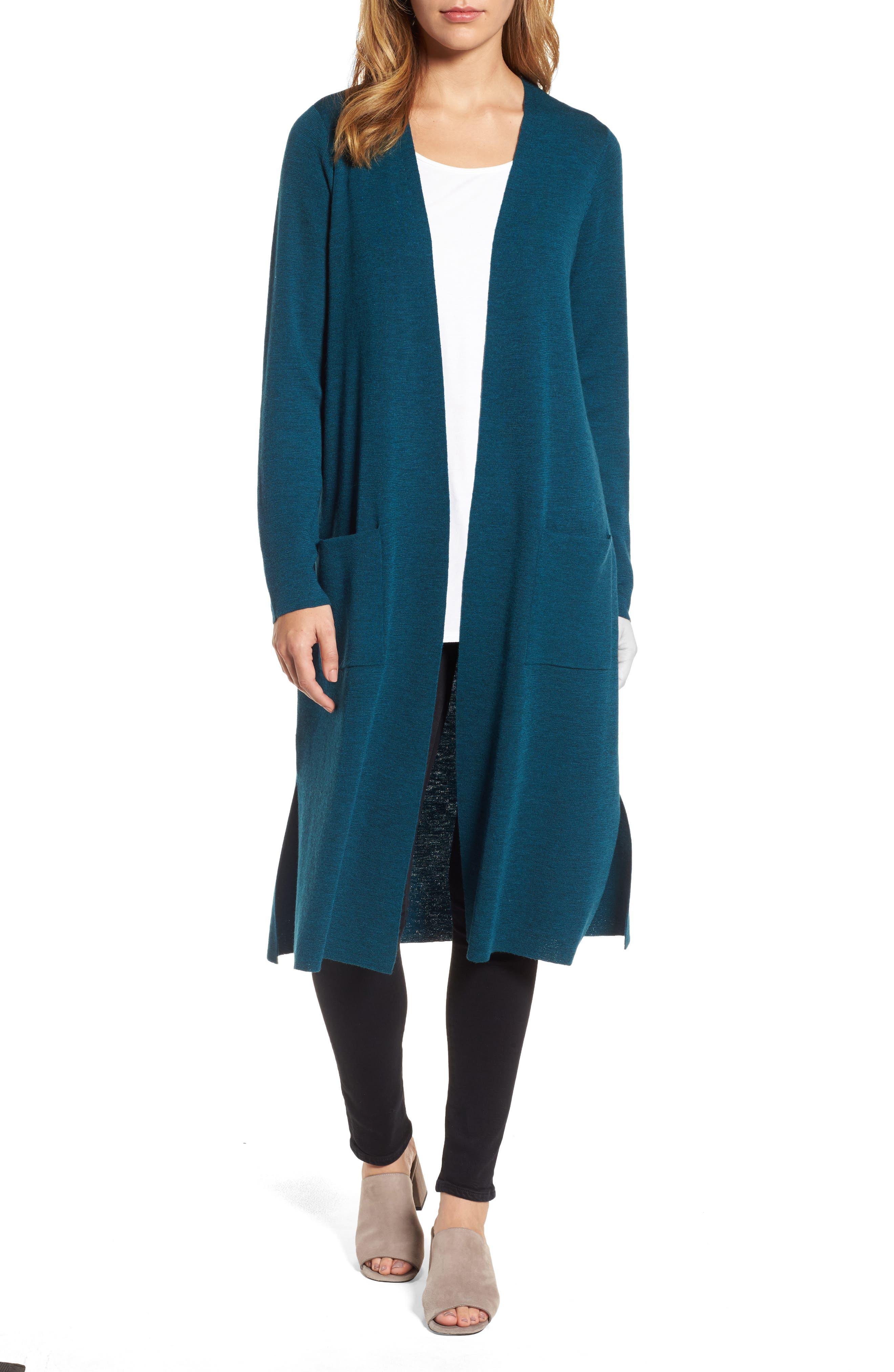 Long Merino Wool Cardigan,                             Main thumbnail 1, color,                             Blue Spruce
