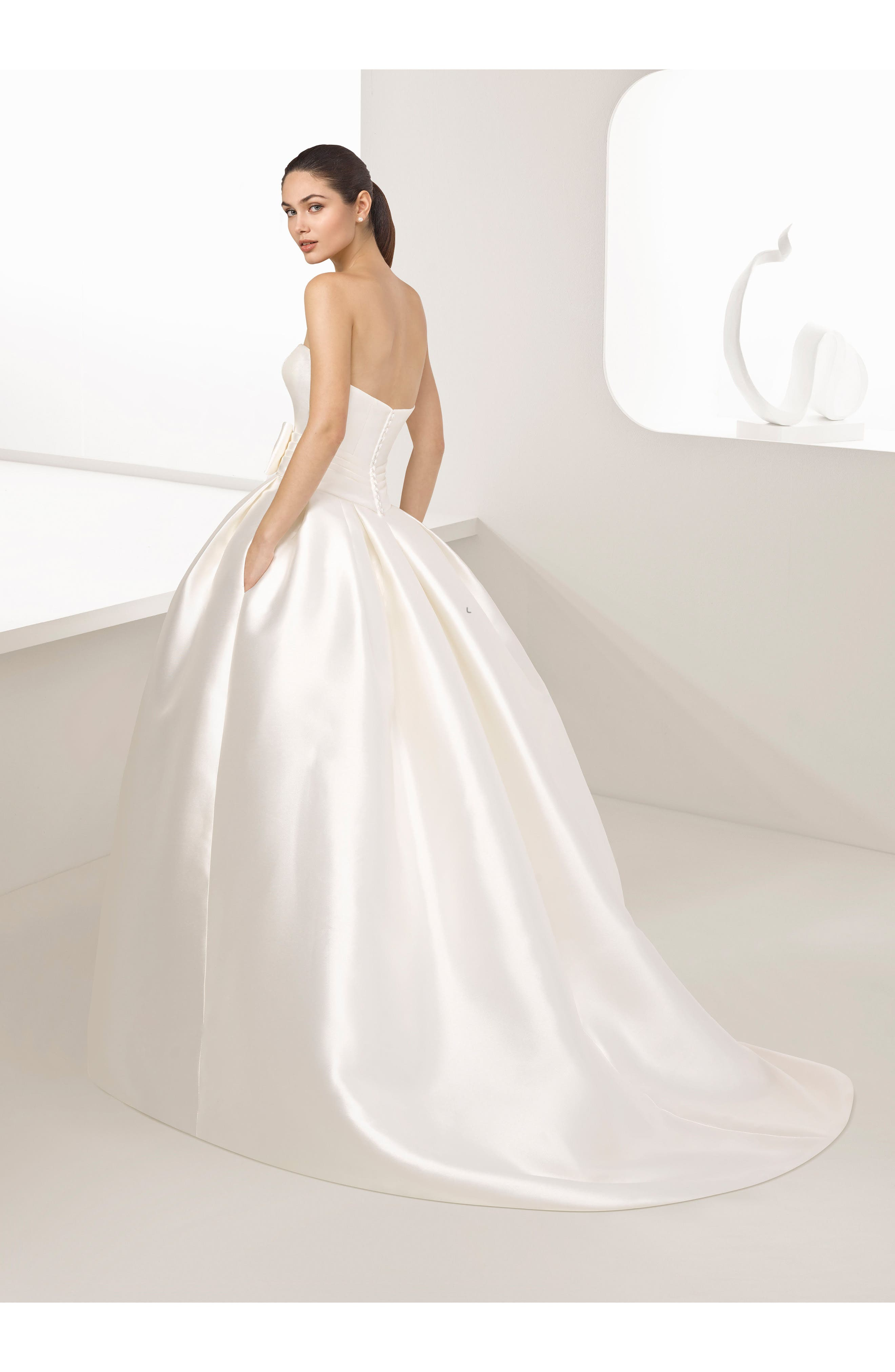 Alternate Image 2  - Two by Rosa Clara Enebro Strapless Mikado Gown