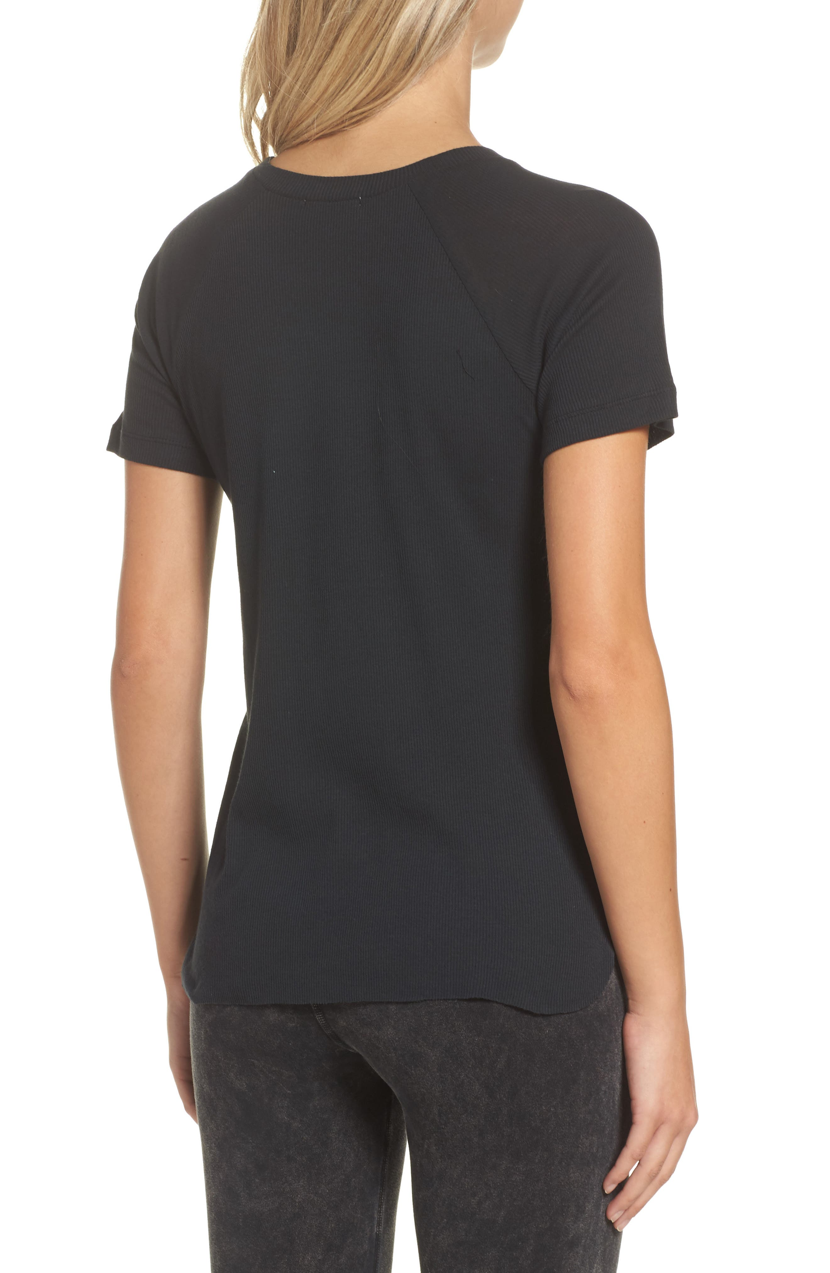 Ribbed Tee,                             Alternate thumbnail 2, color,                             Faded Black