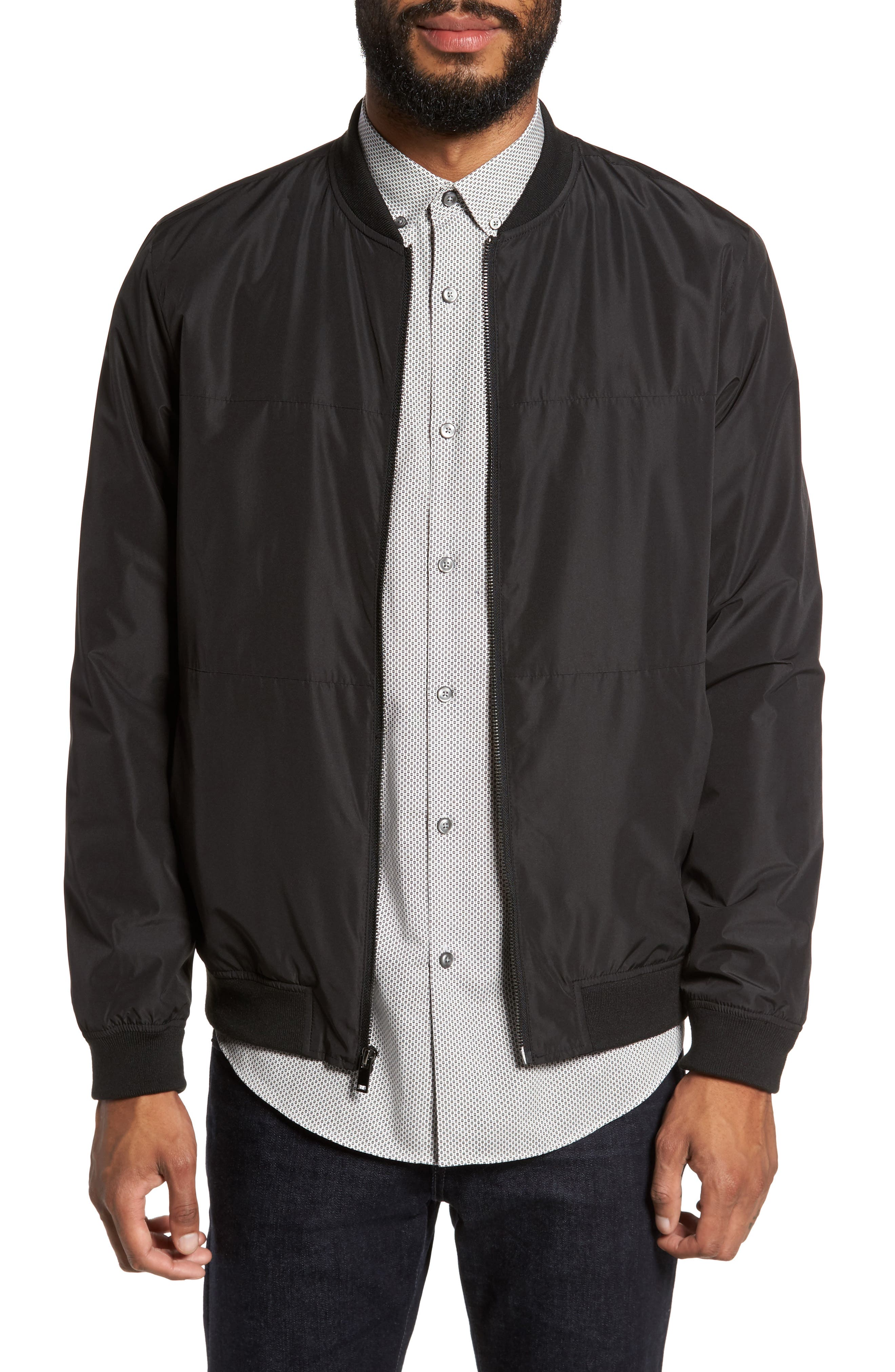 Lightweight Bomber Jacket,                             Main thumbnail 1, color,                             Black