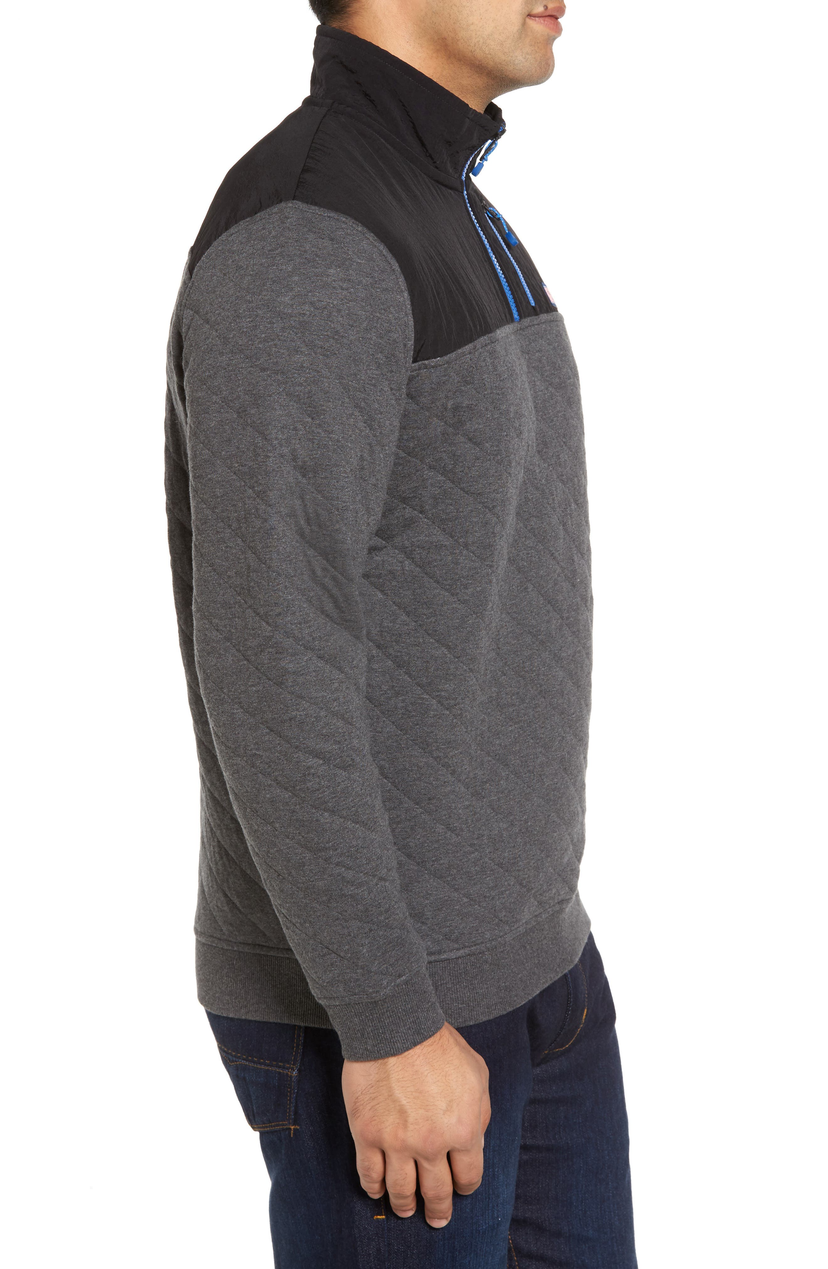 Quilted Quarter Zip Pullover,                             Alternate thumbnail 3, color,                             Charcoal Heather