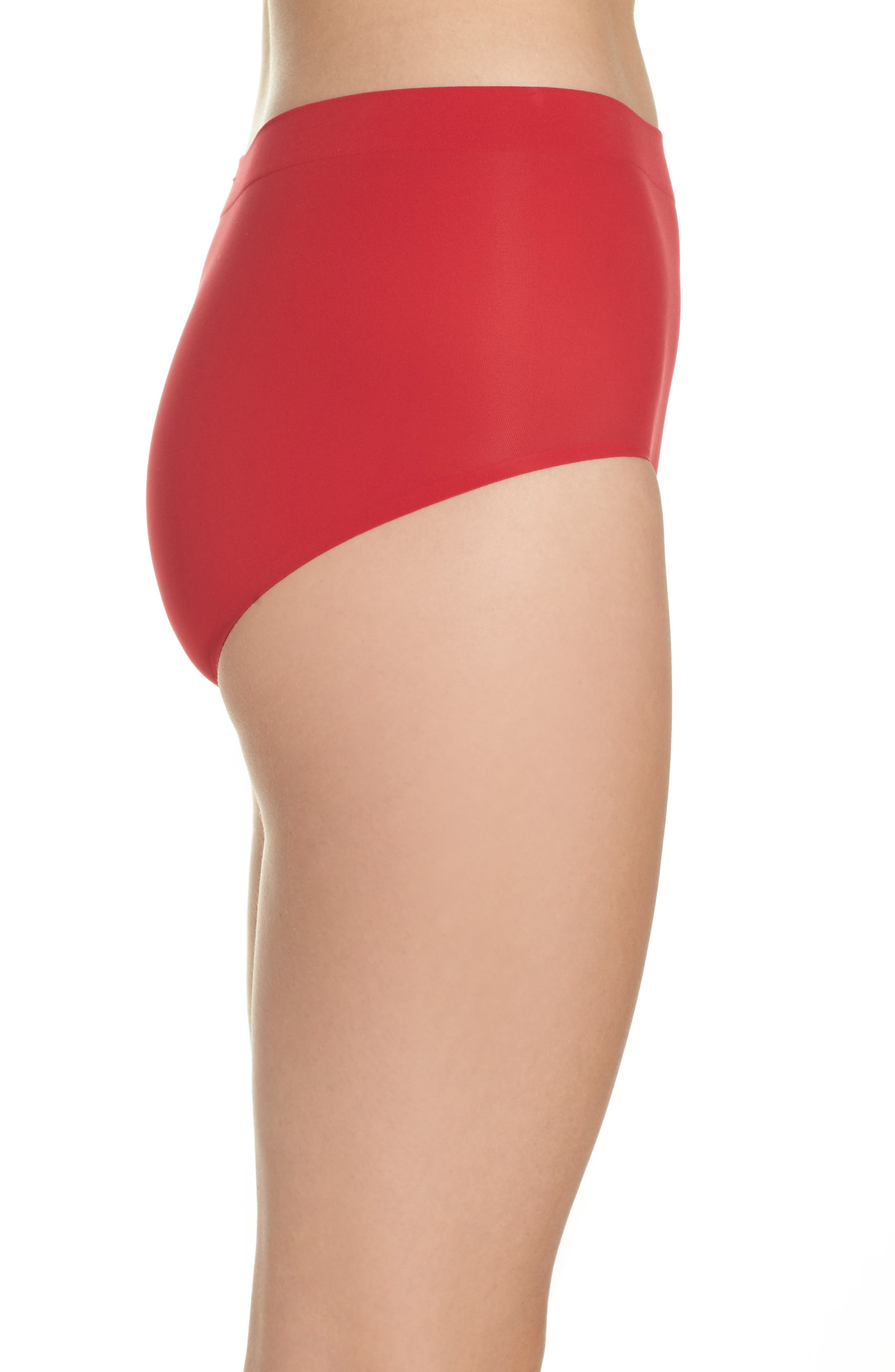 'Skinsense' Seamless Briefs,                             Alternate thumbnail 3, color,                             Tango Red
