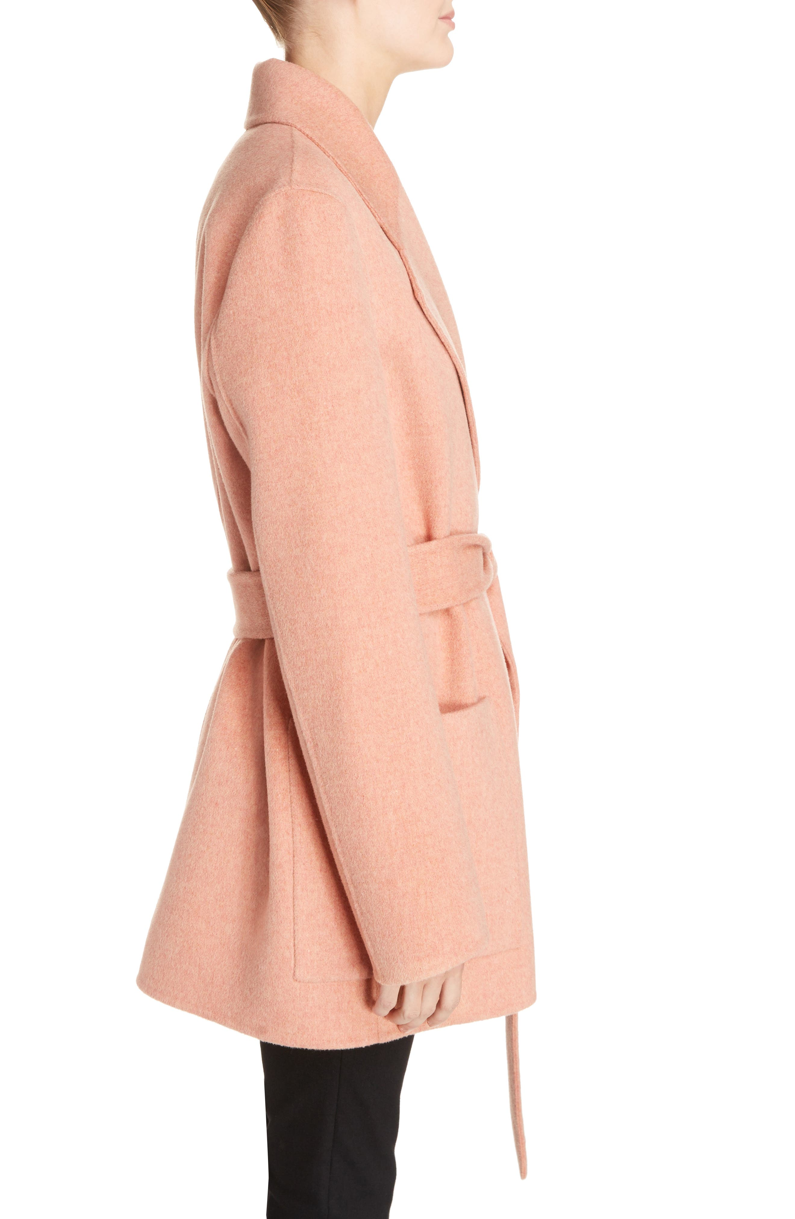 Anika Doublé Wool & Cashmere Coat,                             Alternate thumbnail 4, color,                             Rose Melange