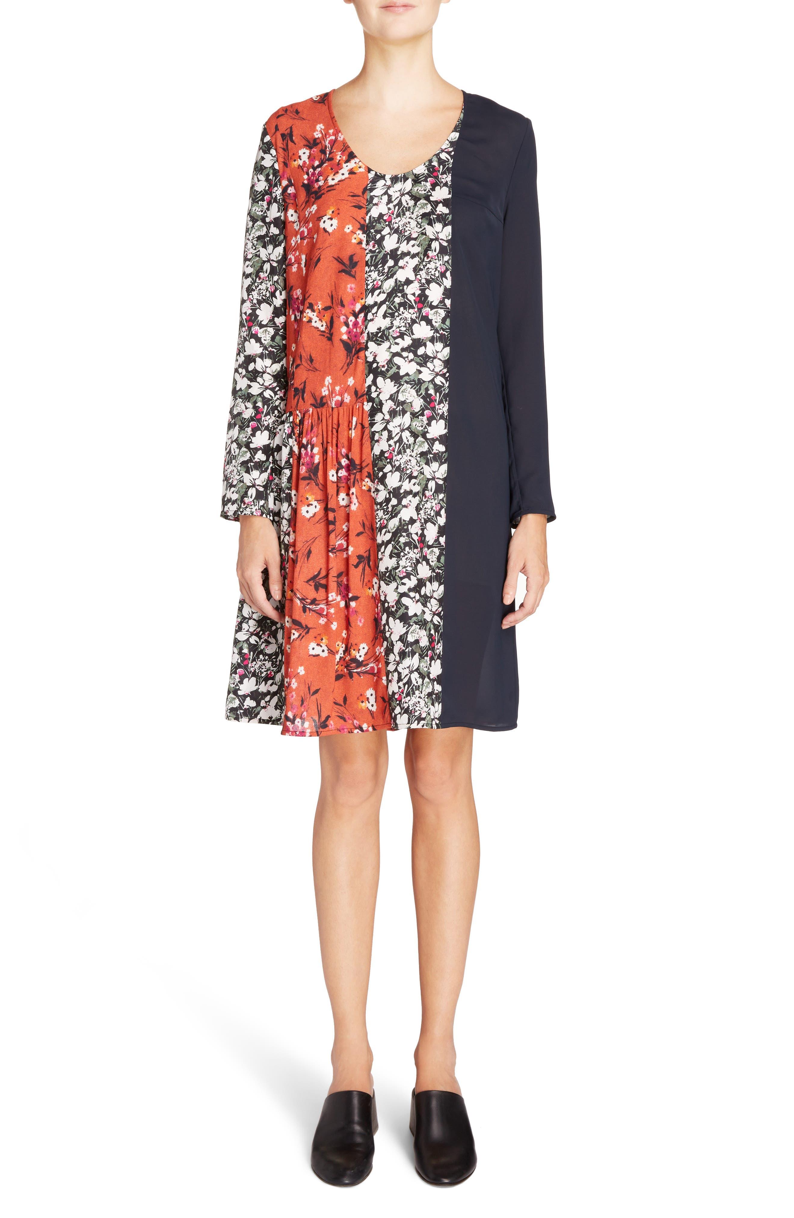 Jorny Print Shift Dress,                         Main,                         color, Off Black/ Black/ Orange