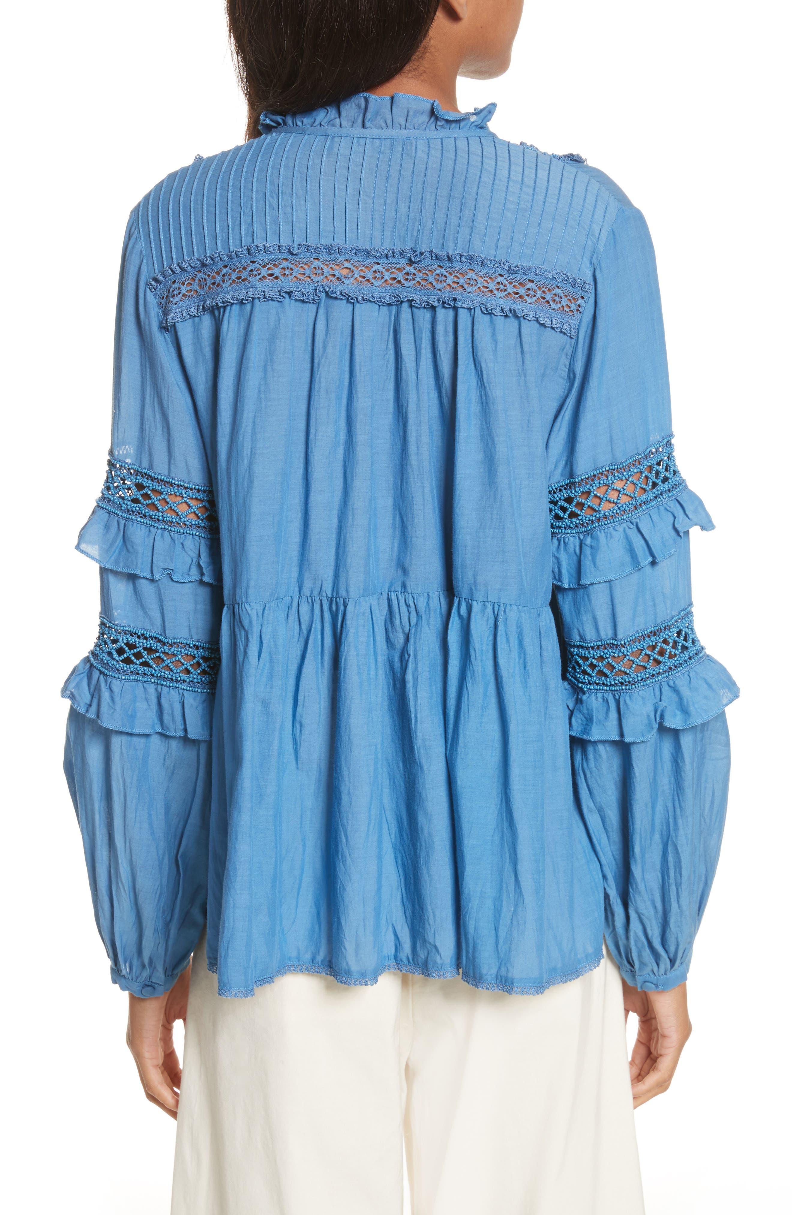 Adaline Ruffle Cotton Blouse,                             Alternate thumbnail 3, color,                             Blue