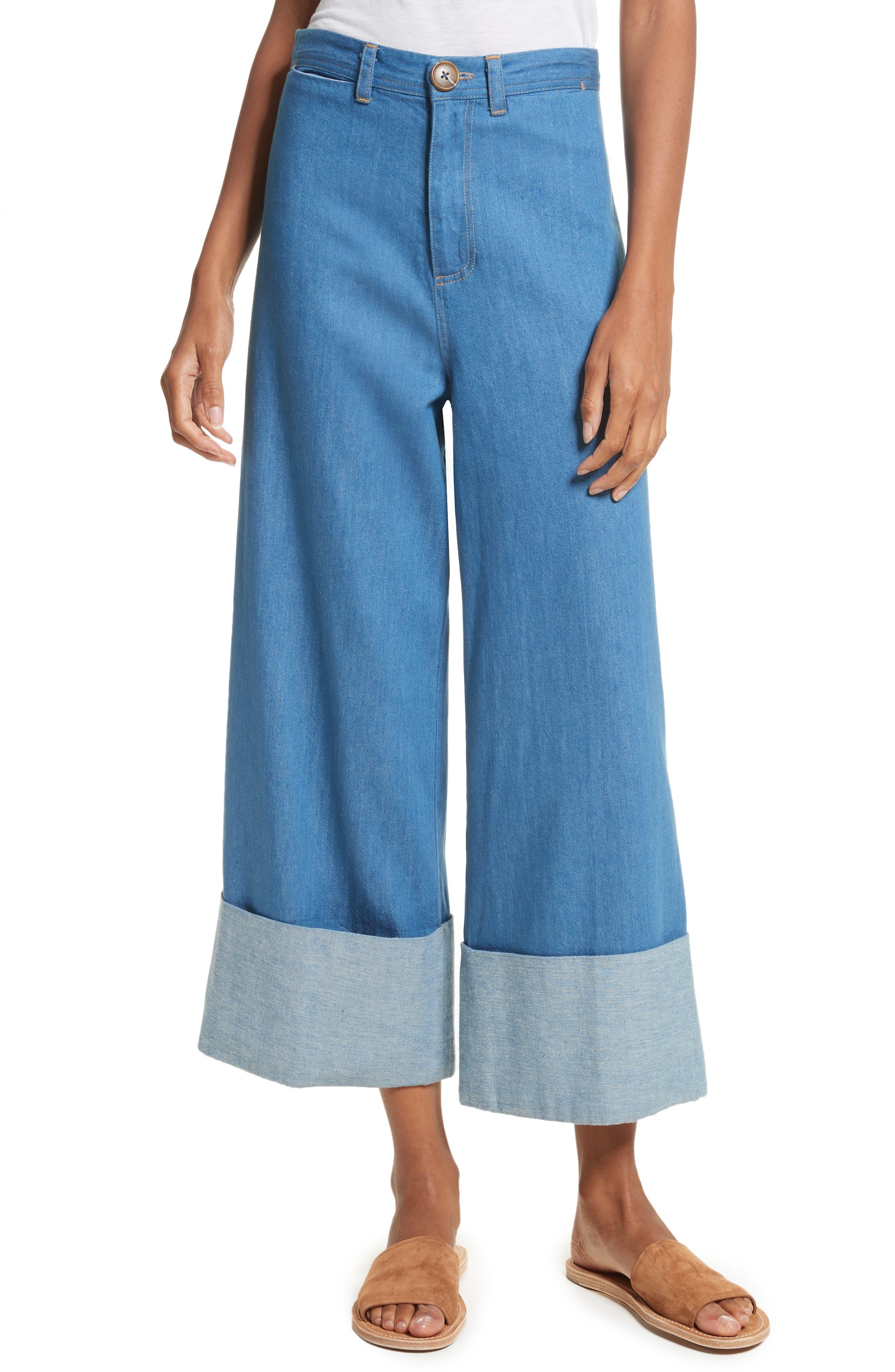 Classic Cuffed Wide Leg Jeans,                             Main thumbnail 1, color,                             Light Indigo