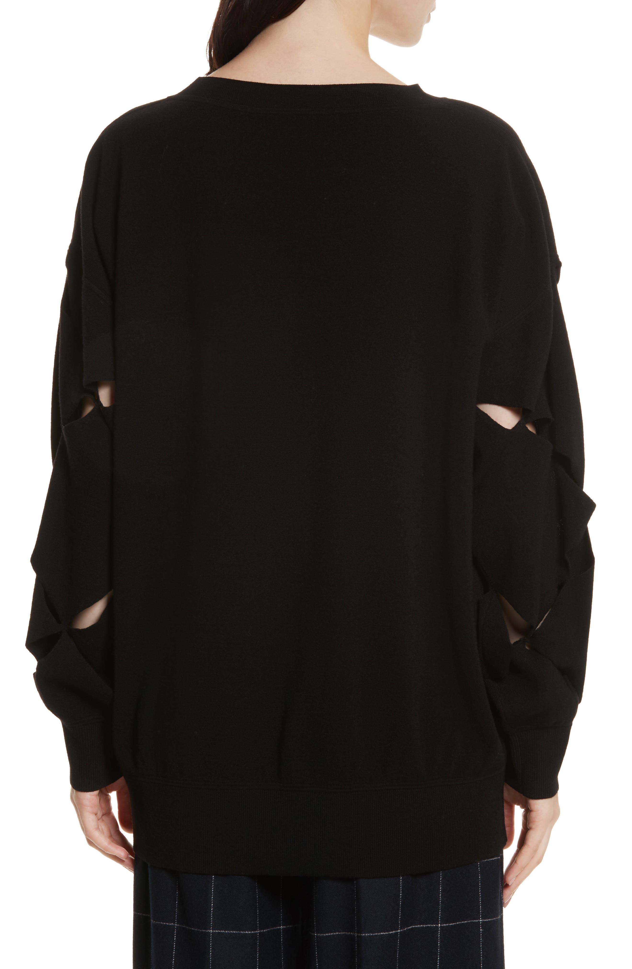 Roz Cutout Sweater,                             Alternate thumbnail 2, color,                             Black