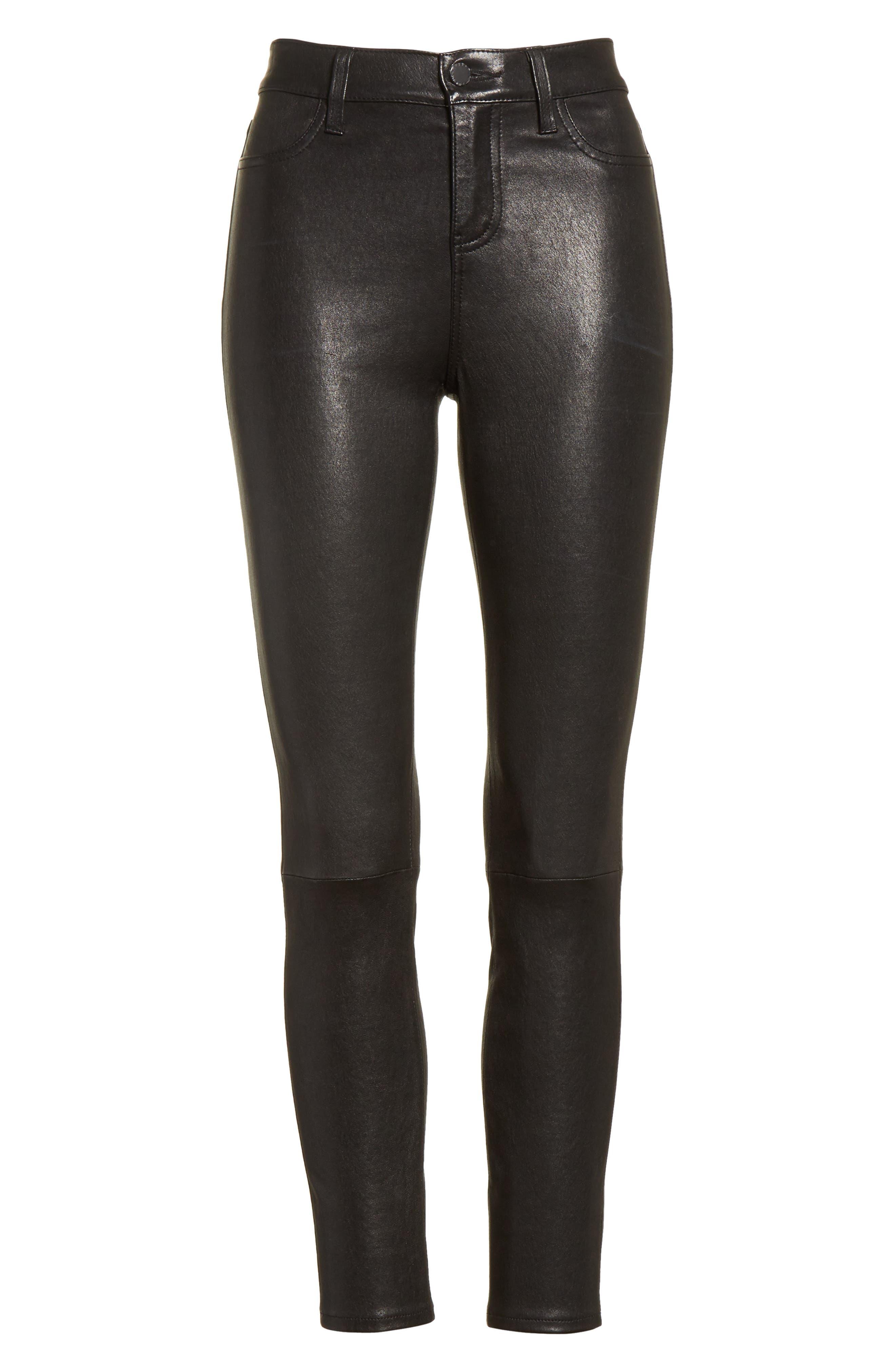 LAGENCE Adelaide High Waist Crop Leather Jeans,                             Alternate thumbnail 6, color,                             Noir